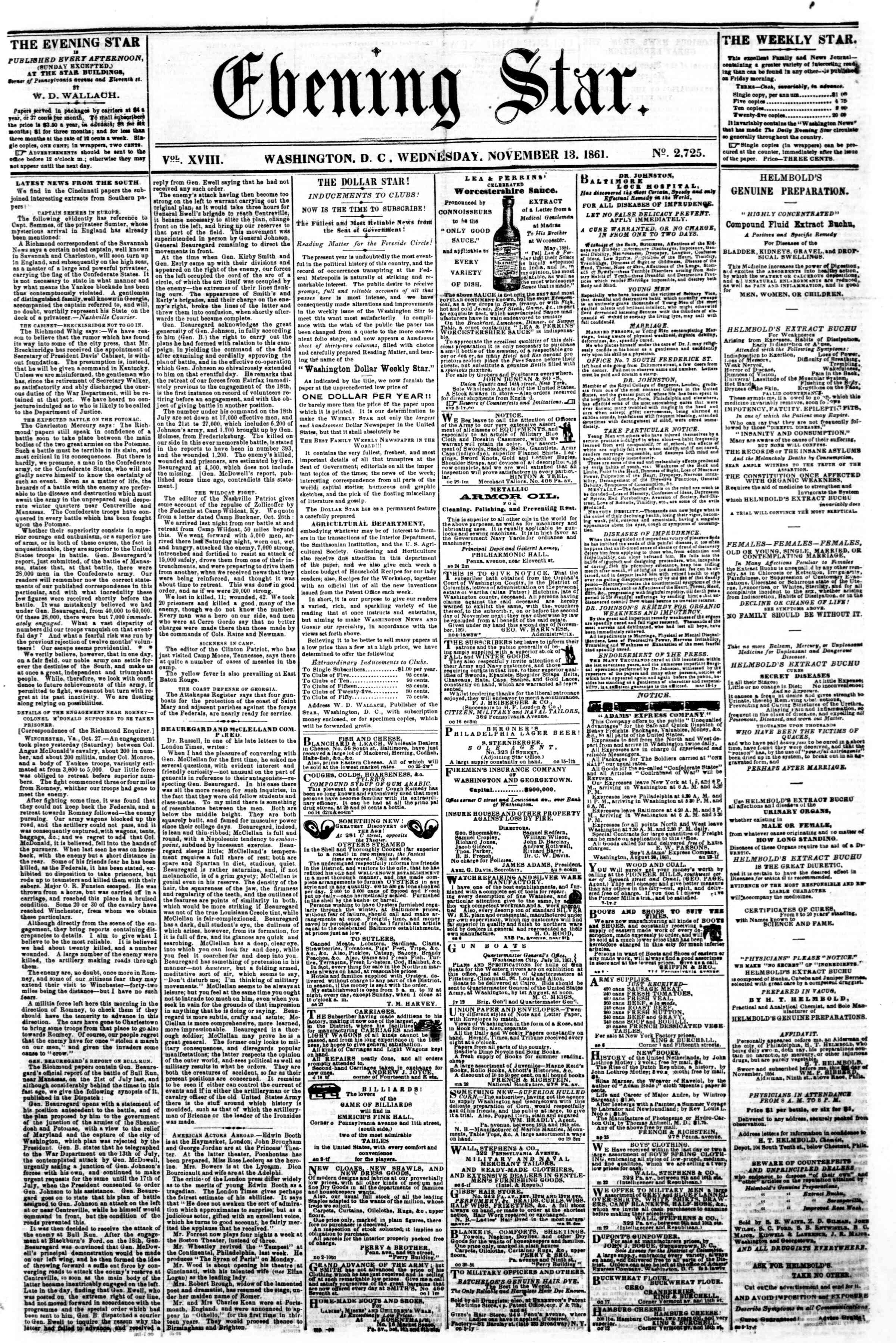 Newspaper of Evening Star dated November 13, 1861 Page 1