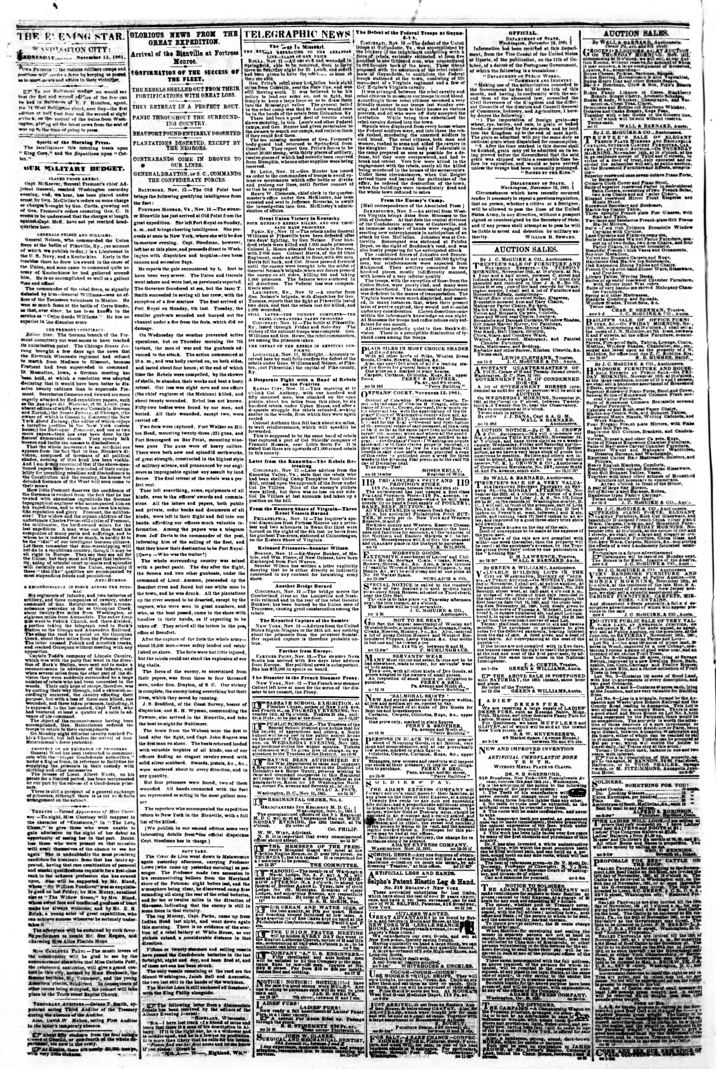 Newspaper of Evening Star dated November 13, 1861 Page 2