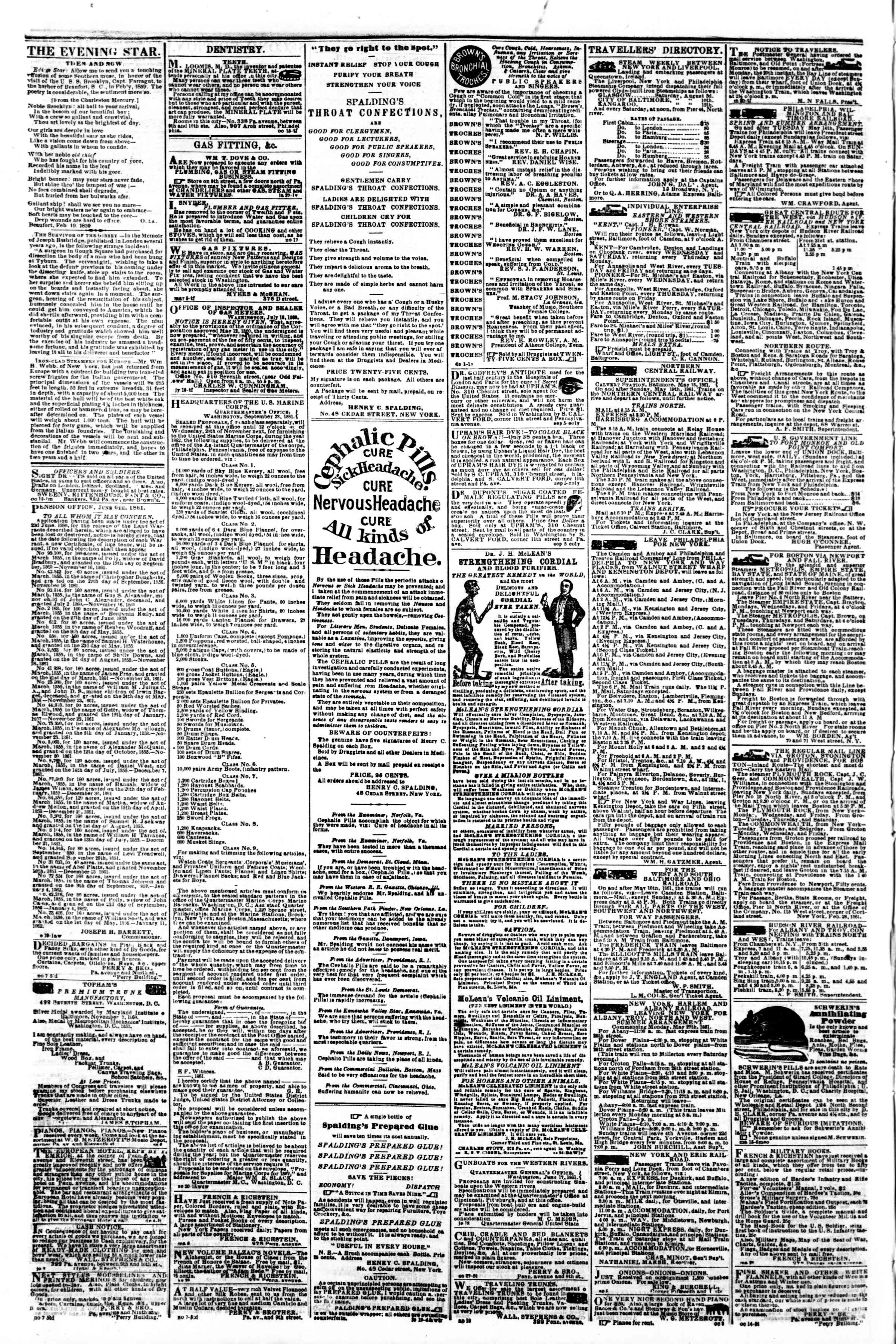 Newspaper of Evening Star dated November 13, 1861 Page 4