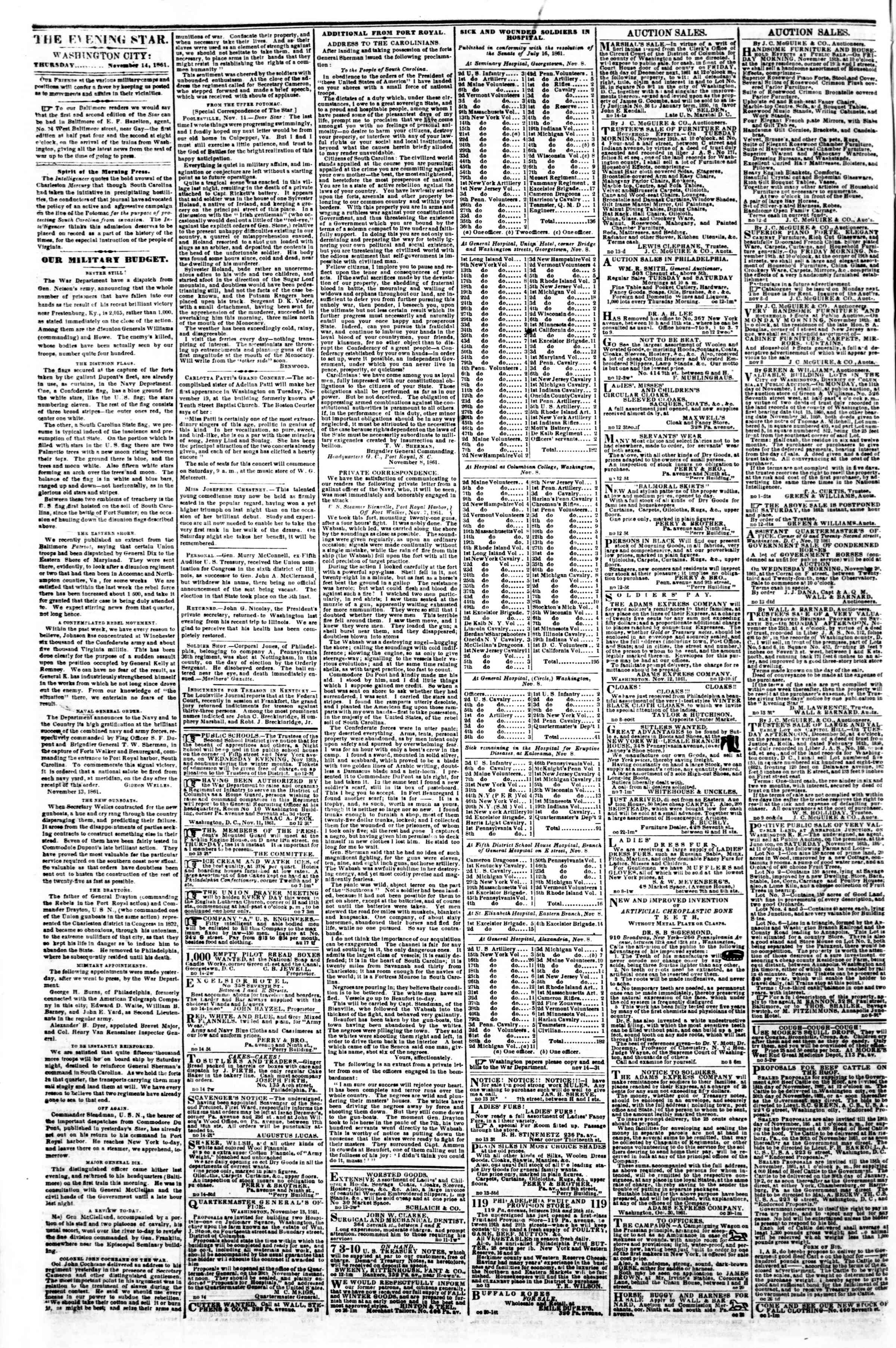 Newspaper of Evening Star dated November 14, 1861 Page 2