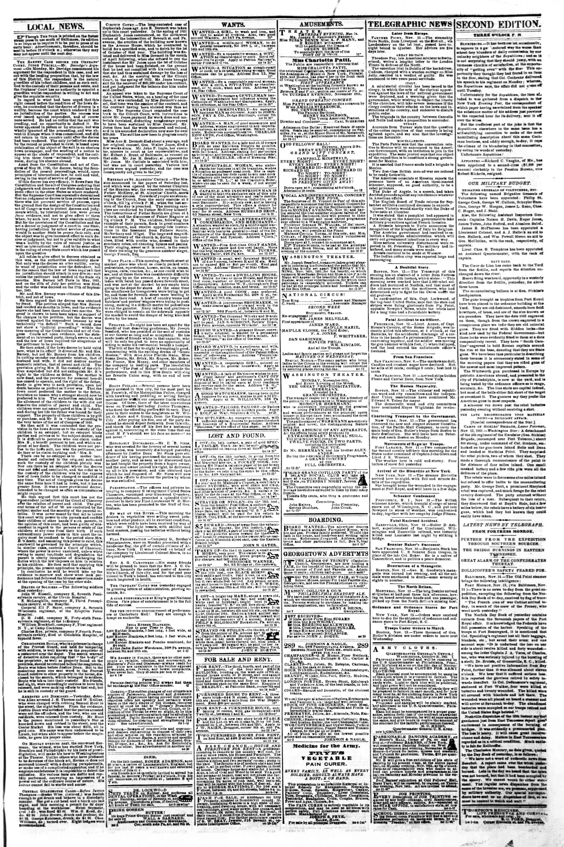 Newspaper of Evening Star dated November 14, 1861 Page 3