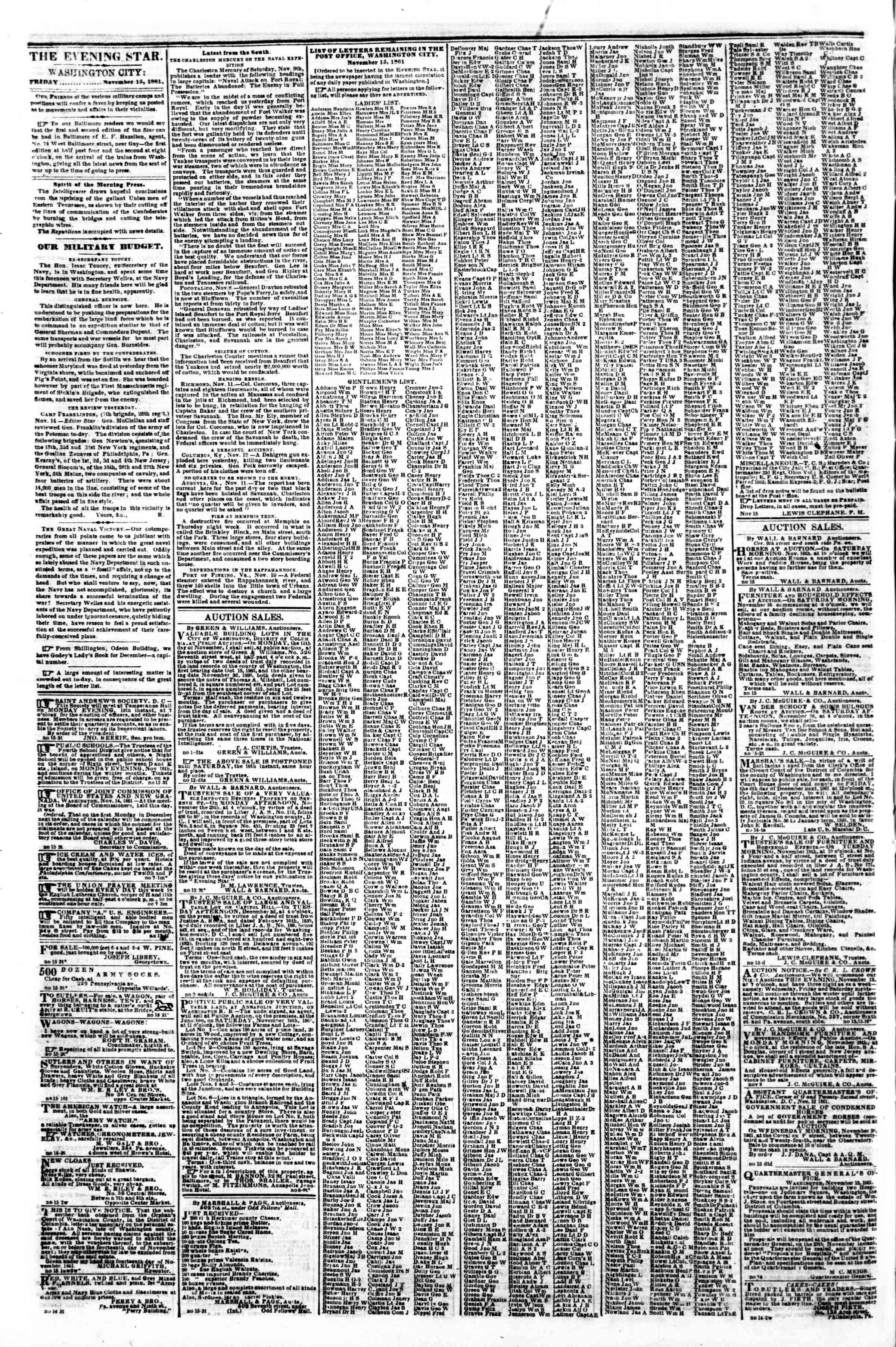 Newspaper of Evening Star dated November 15, 1861 Page 2