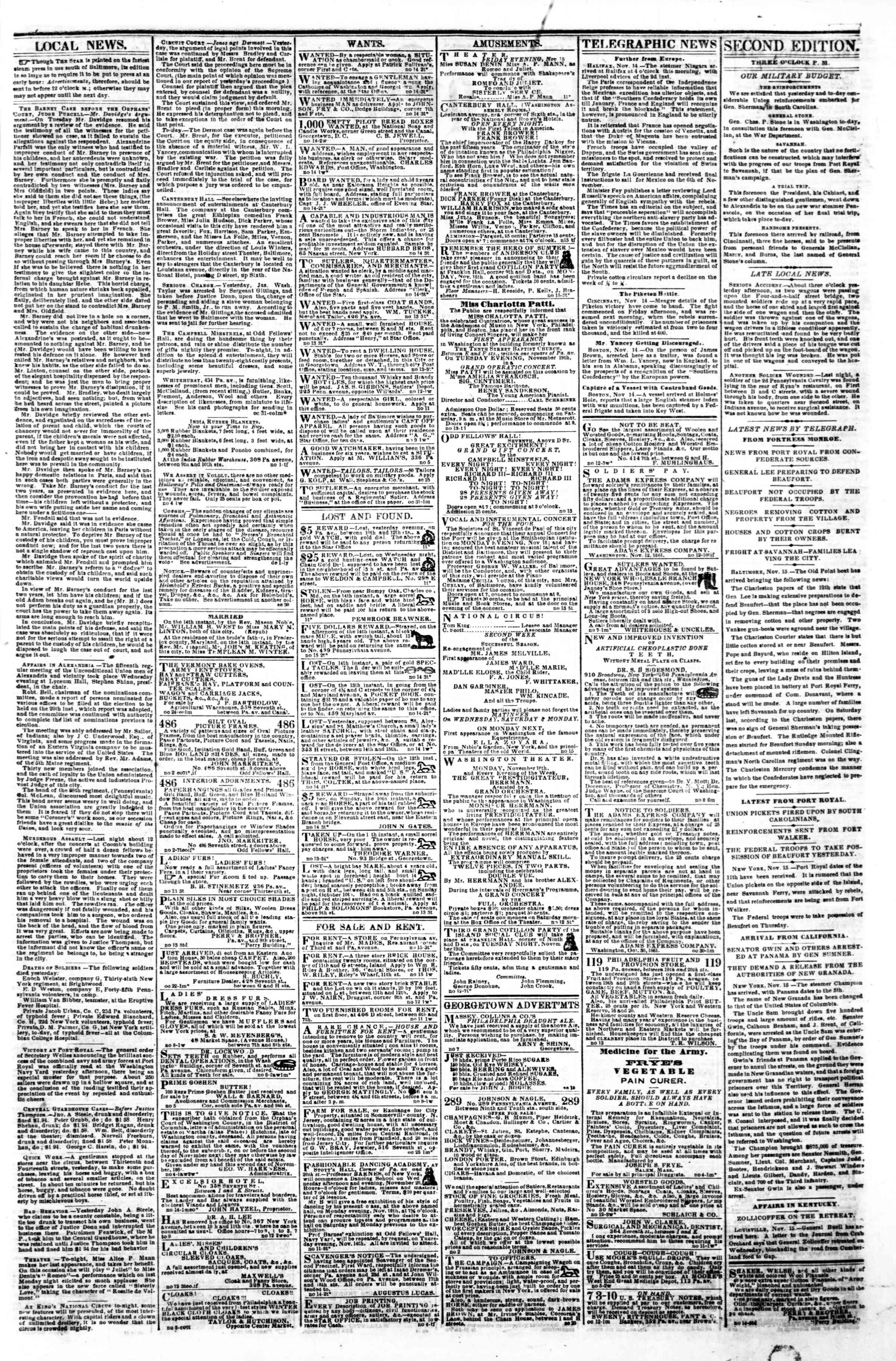 Newspaper of Evening Star dated November 15, 1861 Page 3