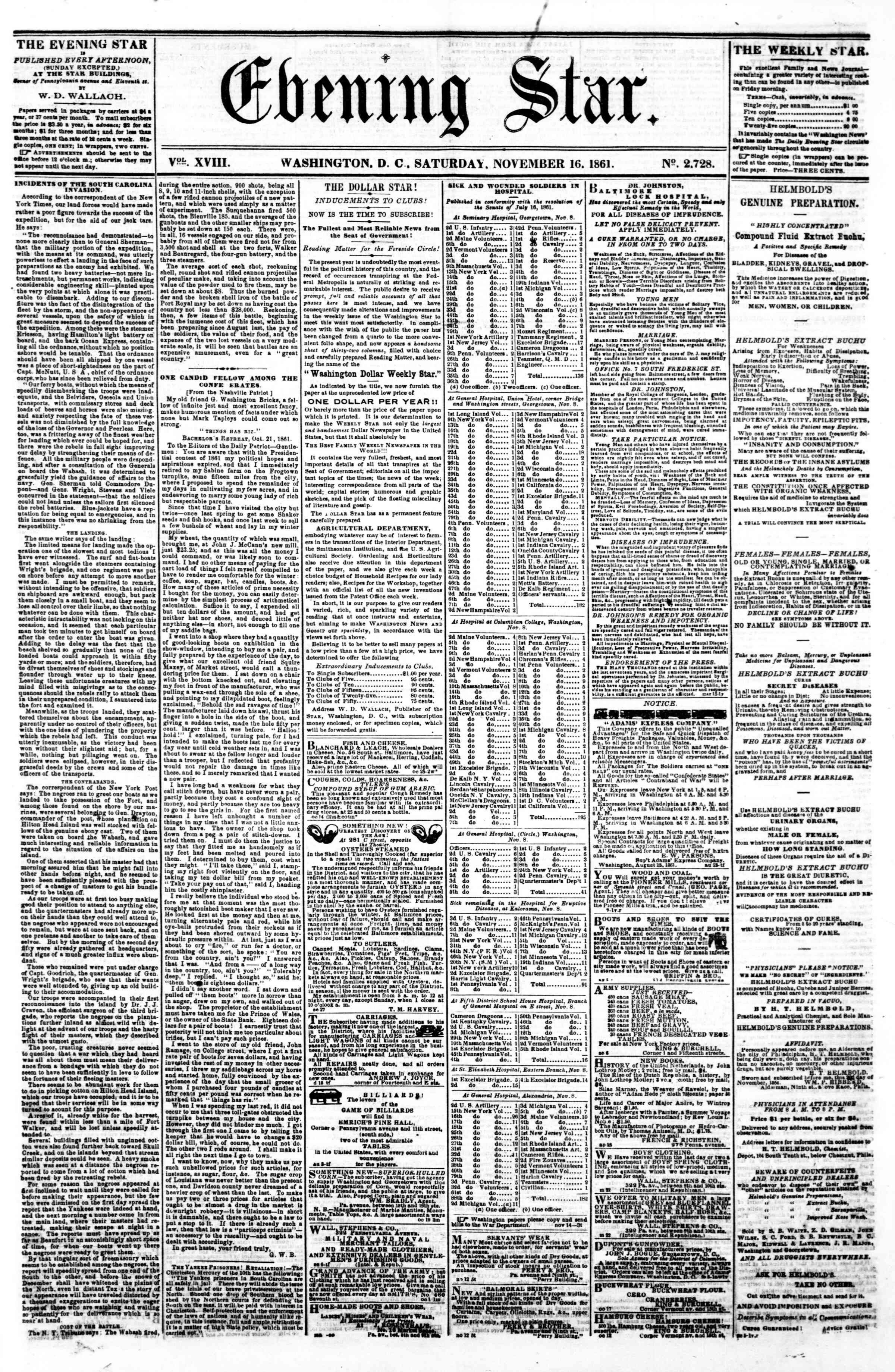 Newspaper of Evening Star dated November 16, 1861 Page 1