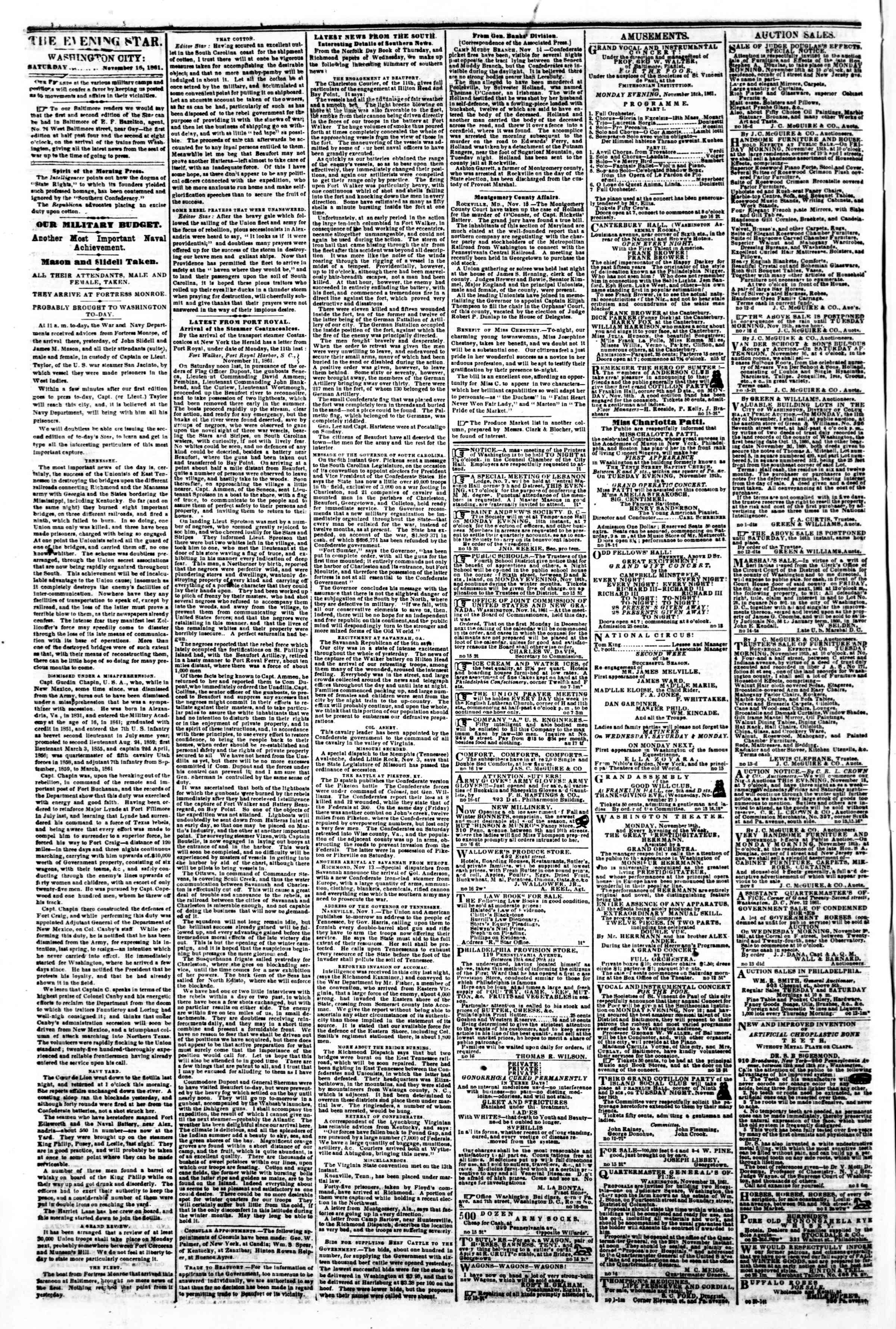 Newspaper of Evening Star dated November 16, 1861 Page 2