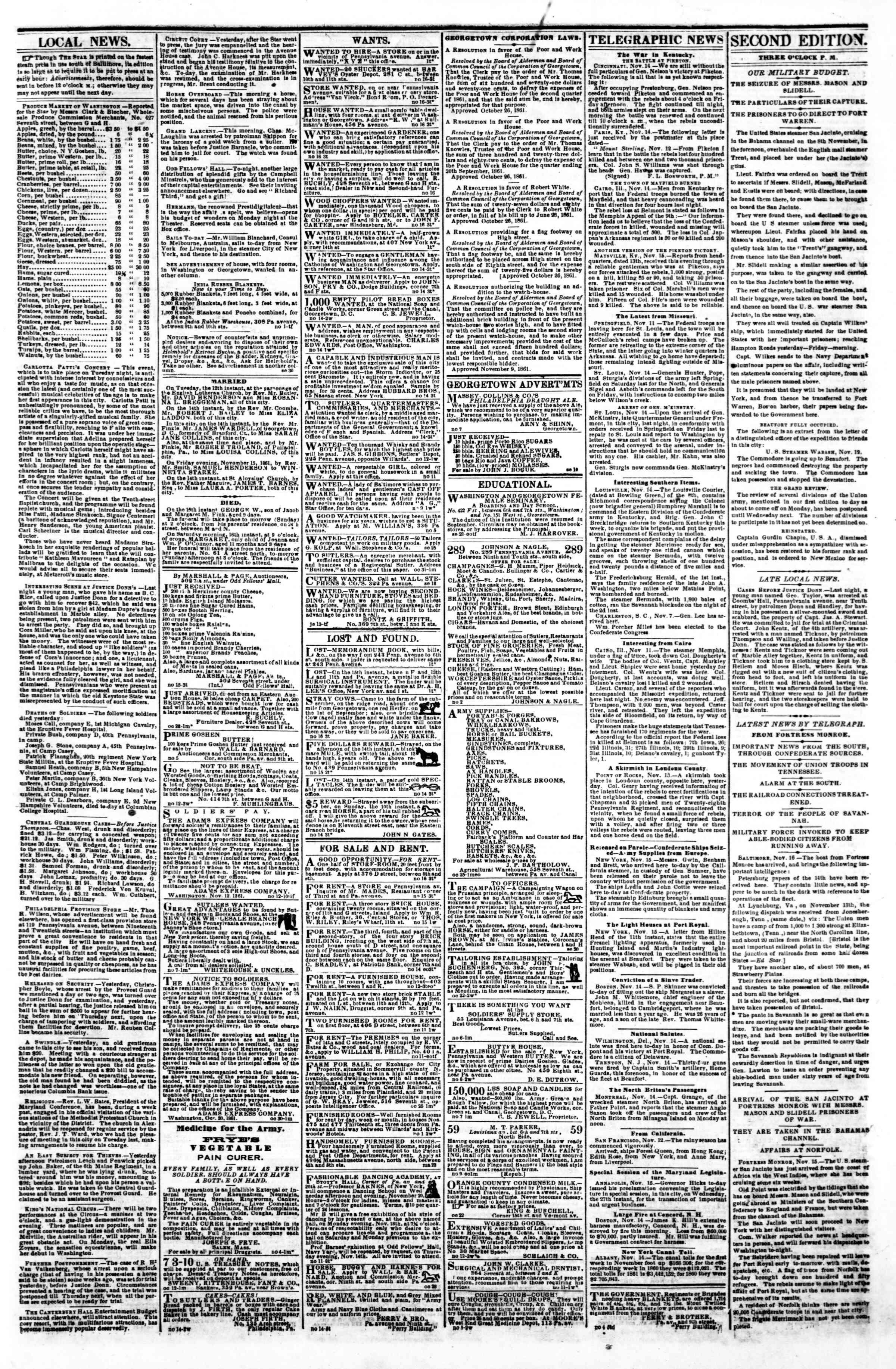 Newspaper of Evening Star dated November 16, 1861 Page 3