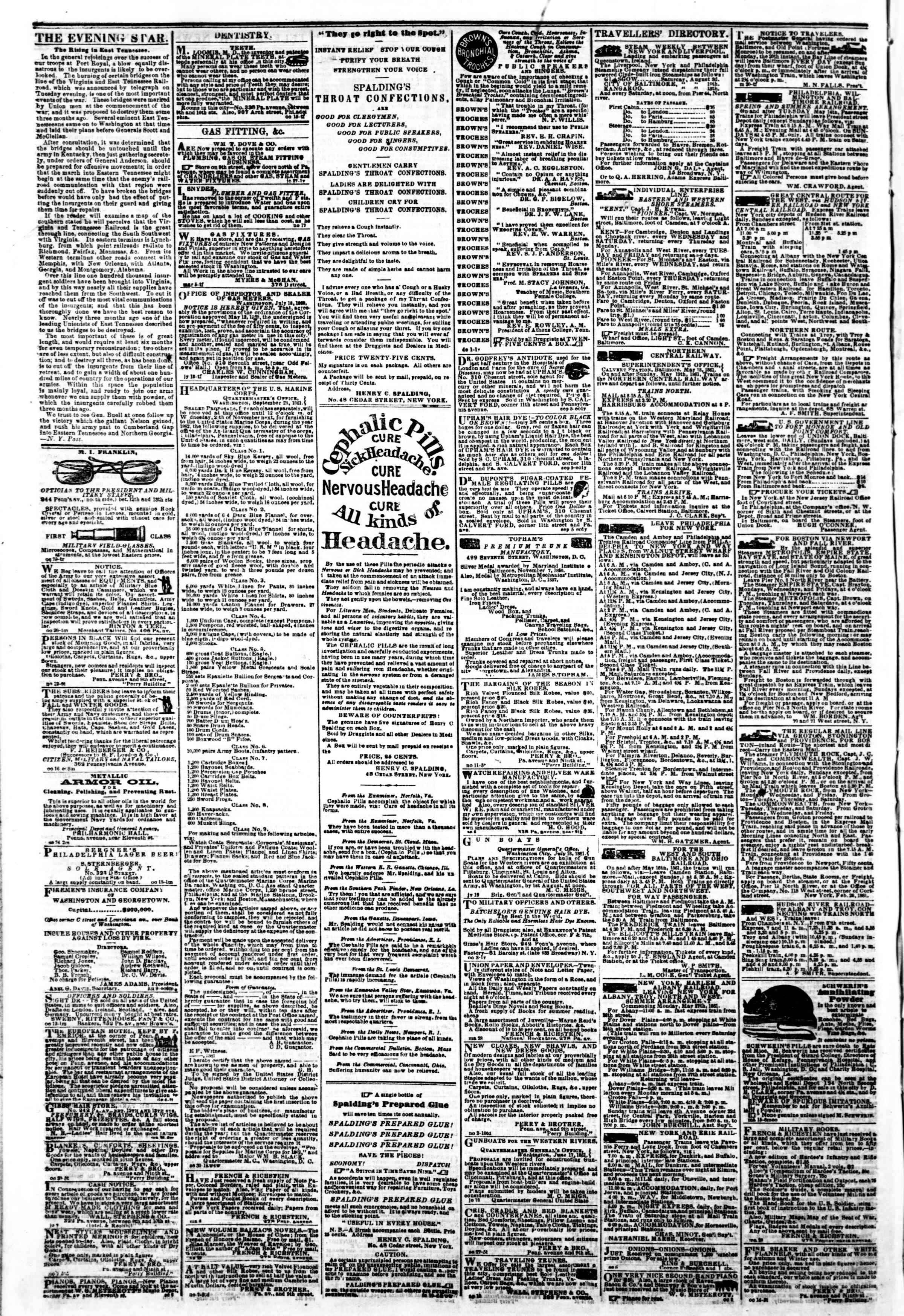 Newspaper of Evening Star dated November 16, 1861 Page 4