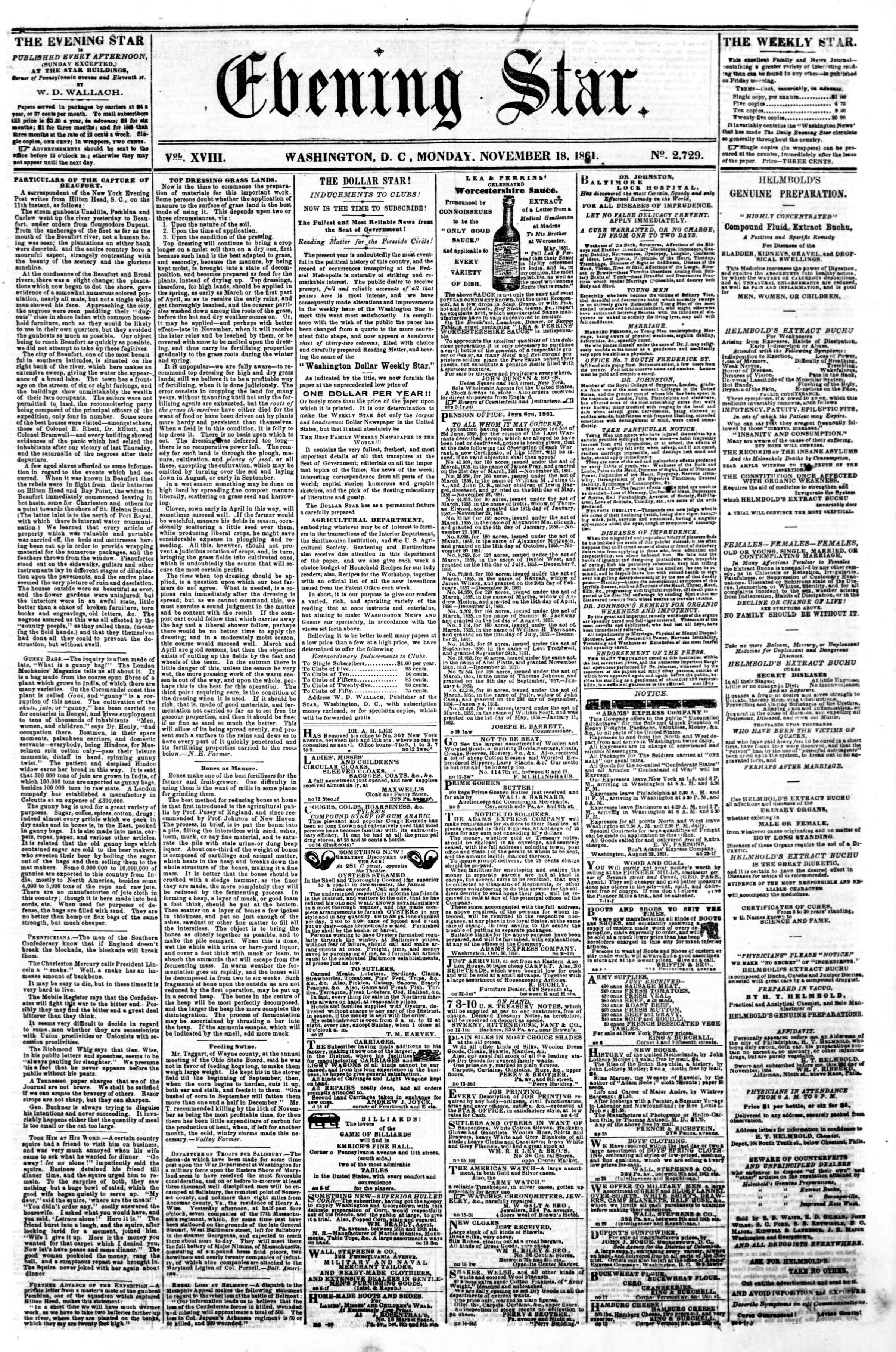 Newspaper of Evening Star dated November 18, 1861 Page 1