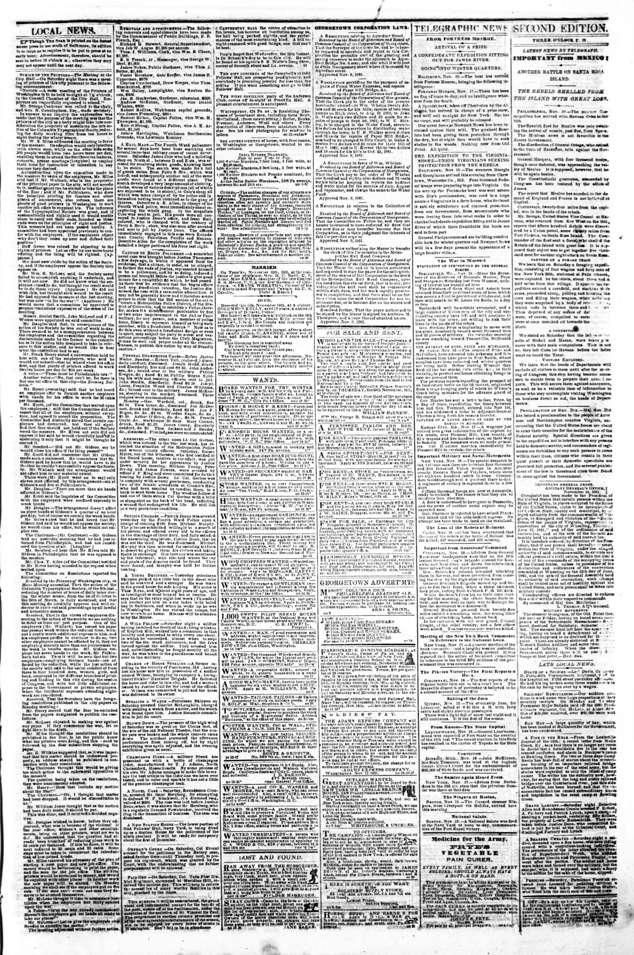 Newspaper of Evening Star dated November 18, 1861 Page 3