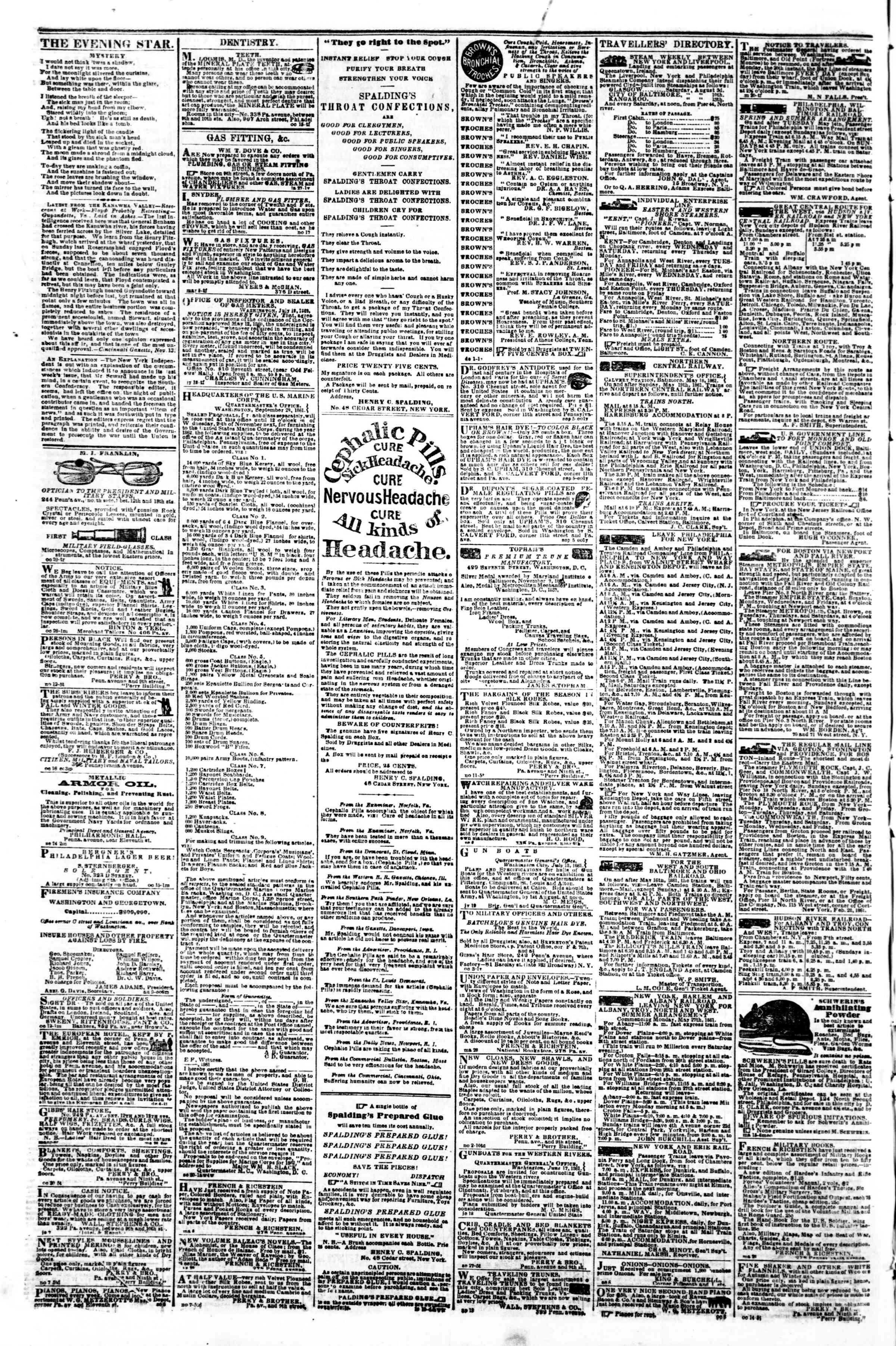 Newspaper of Evening Star dated November 18, 1861 Page 4