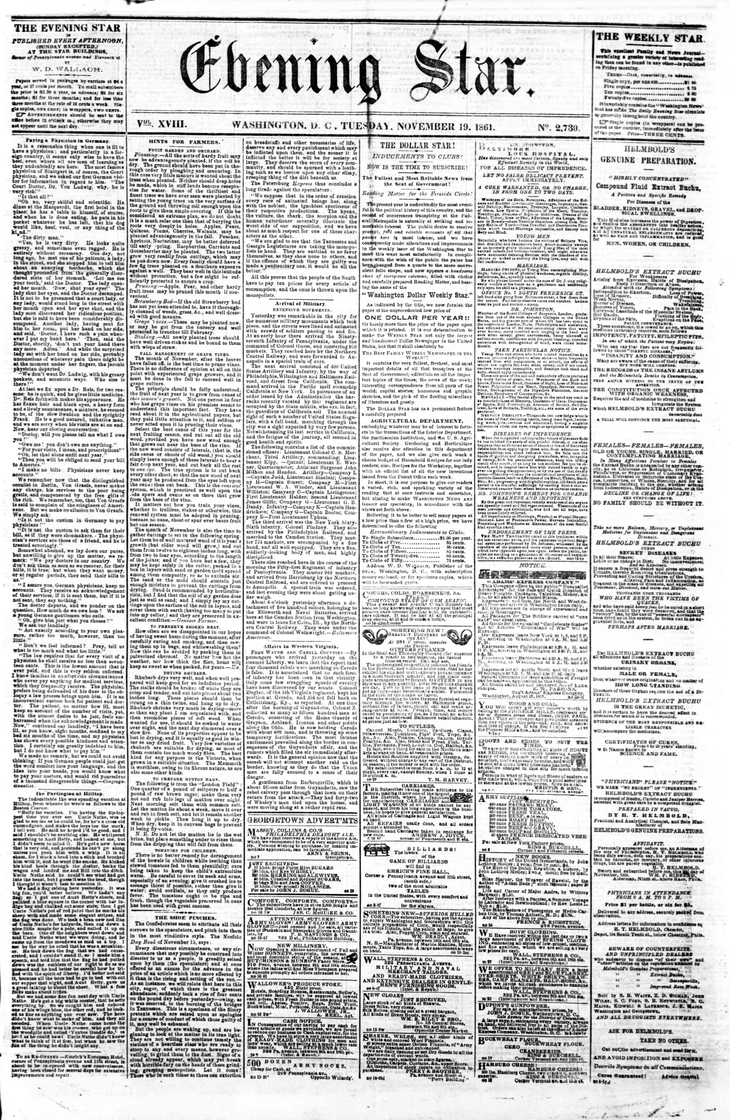 Newspaper of Evening Star dated November 19, 1861 Page 1