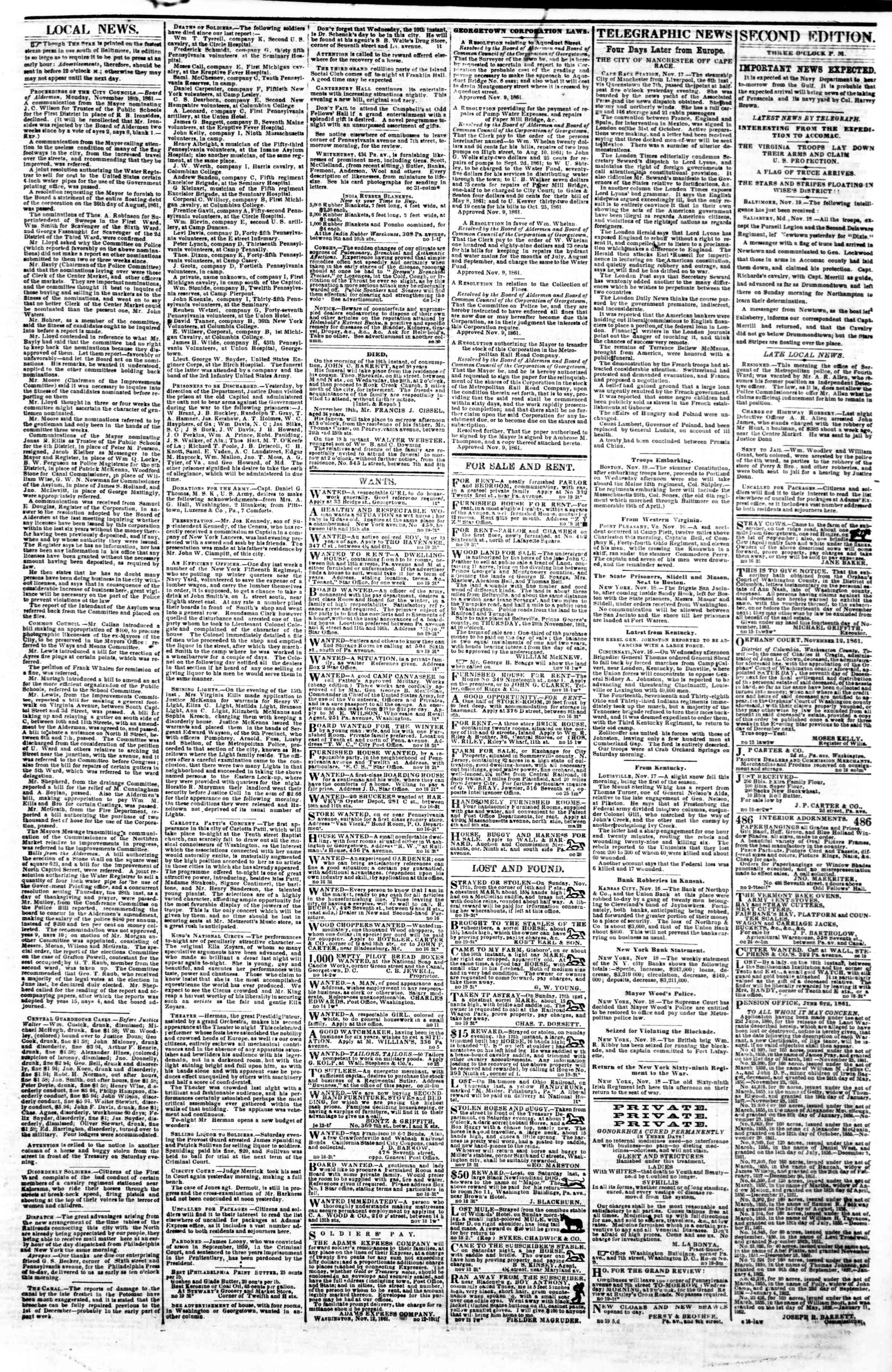 Newspaper of Evening Star dated November 19, 1861 Page 3