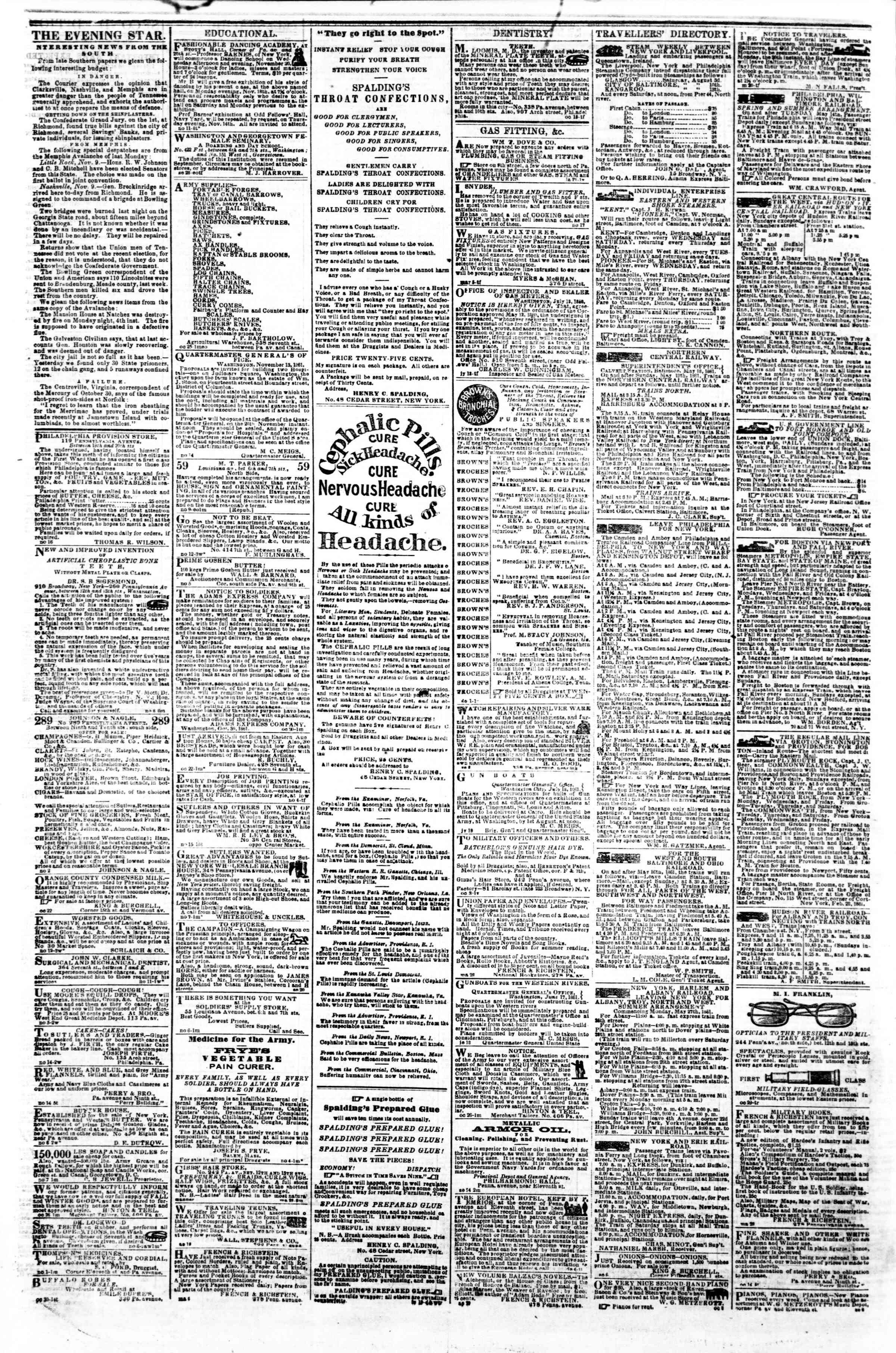 Newspaper of Evening Star dated November 19, 1861 Page 4