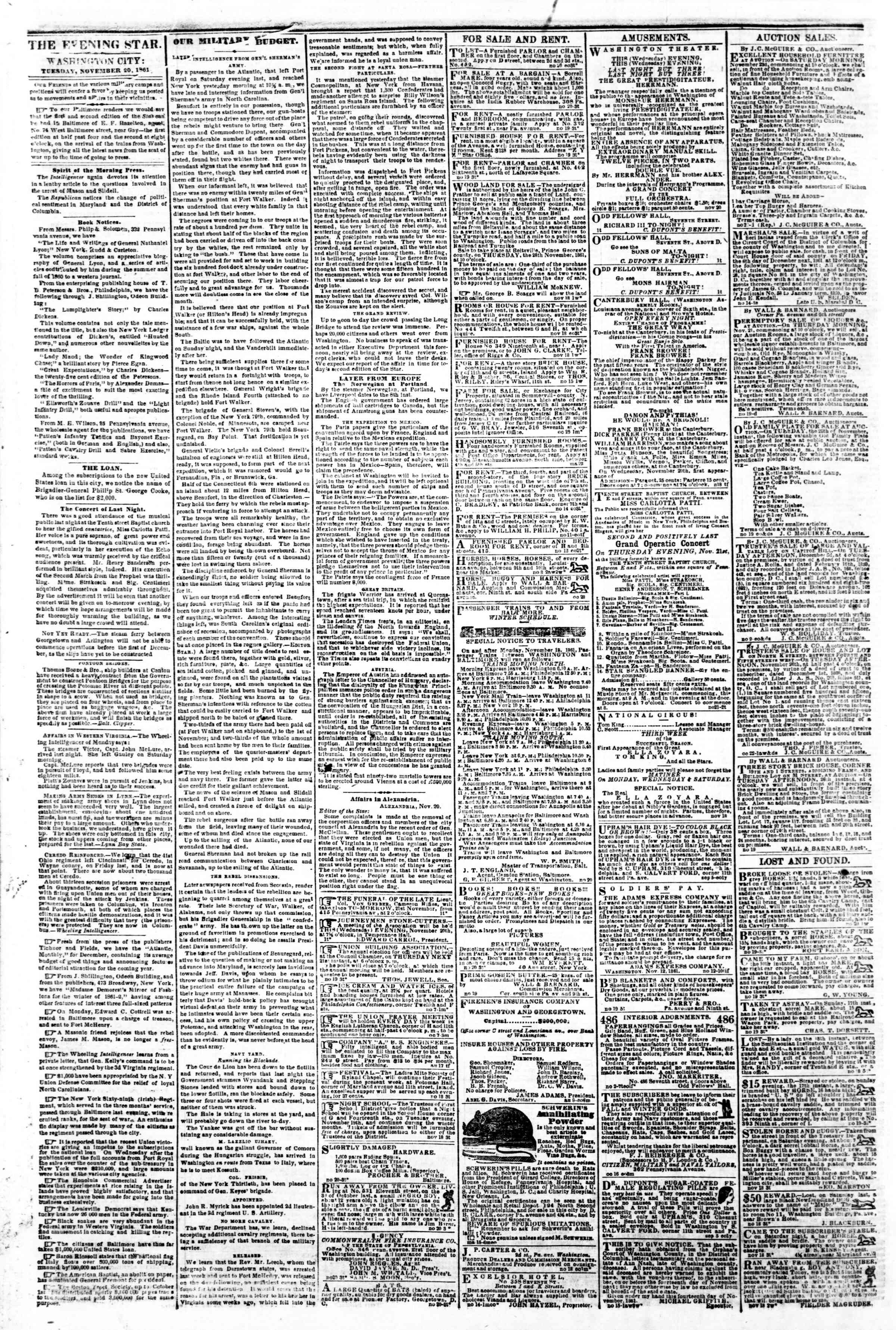 Newspaper of Evening Star dated November 20, 1861 Page 2
