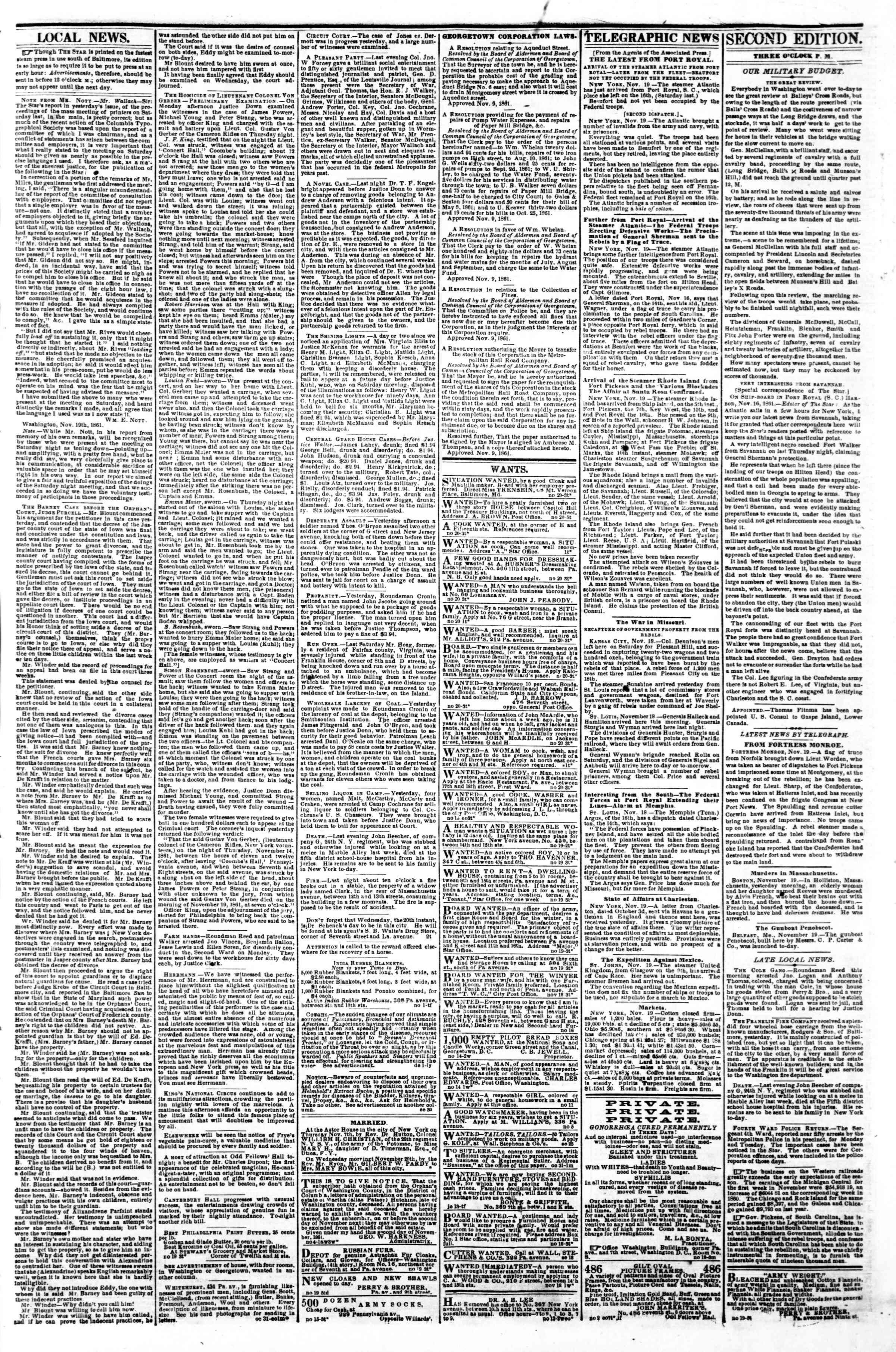Newspaper of Evening Star dated November 20, 1861 Page 3