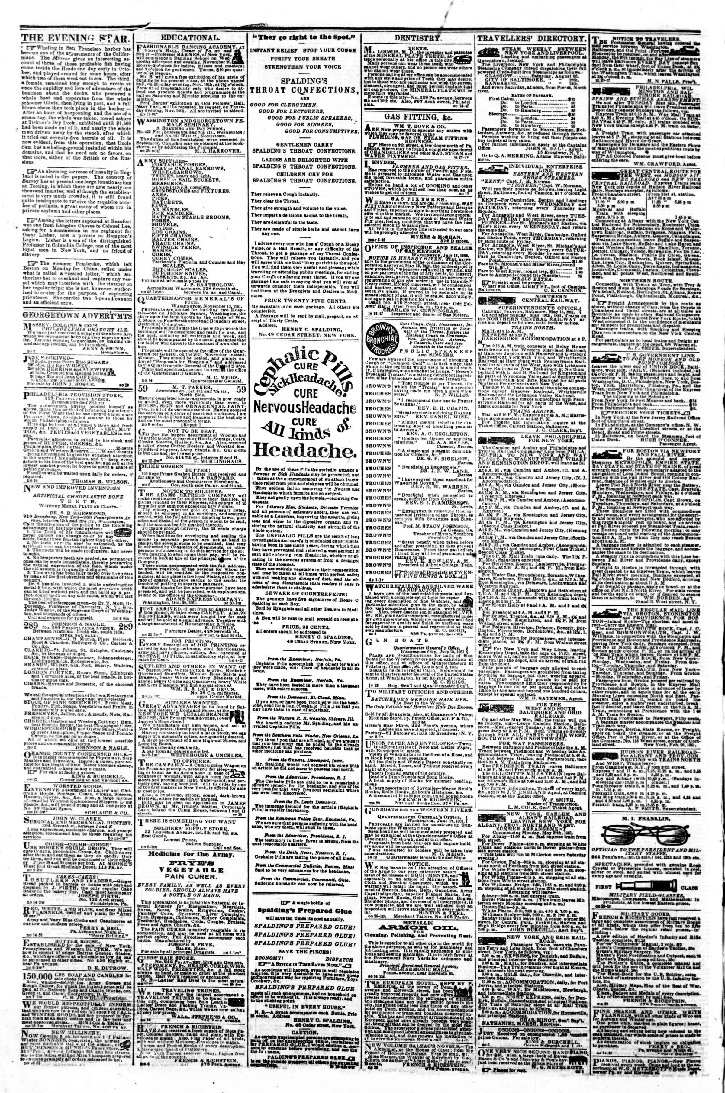 Newspaper of Evening Star dated November 20, 1861 Page 4