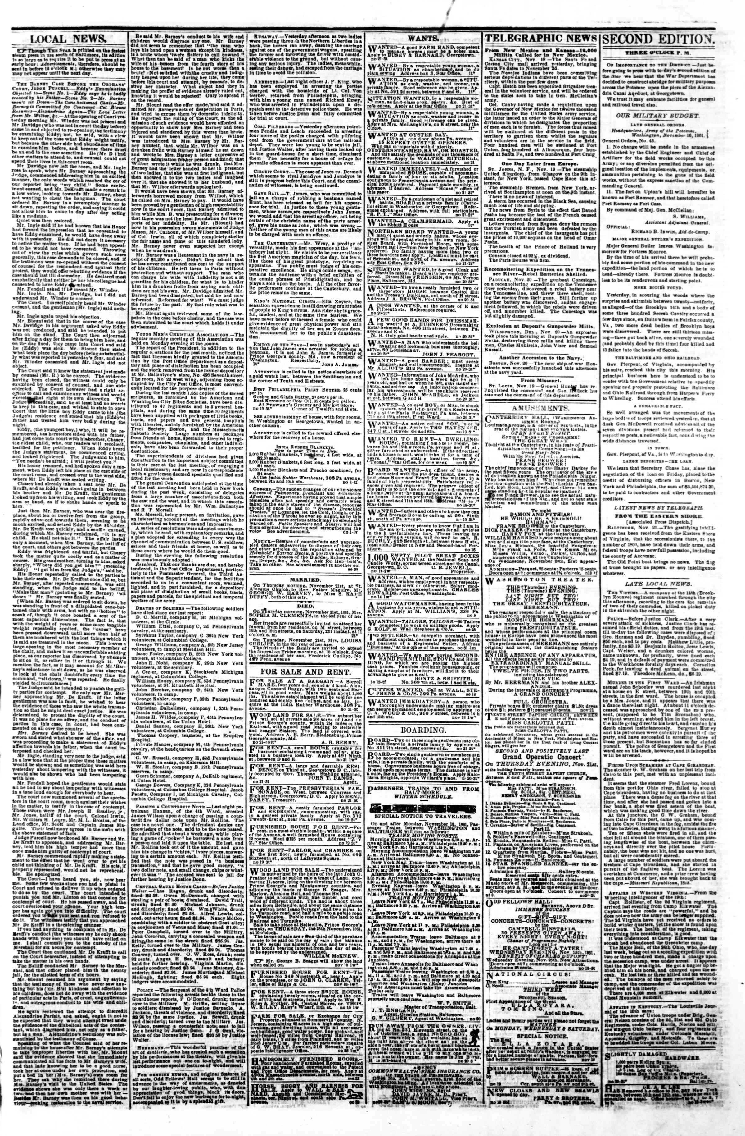 Newspaper of Evening Star dated November 21, 1861 Page 3