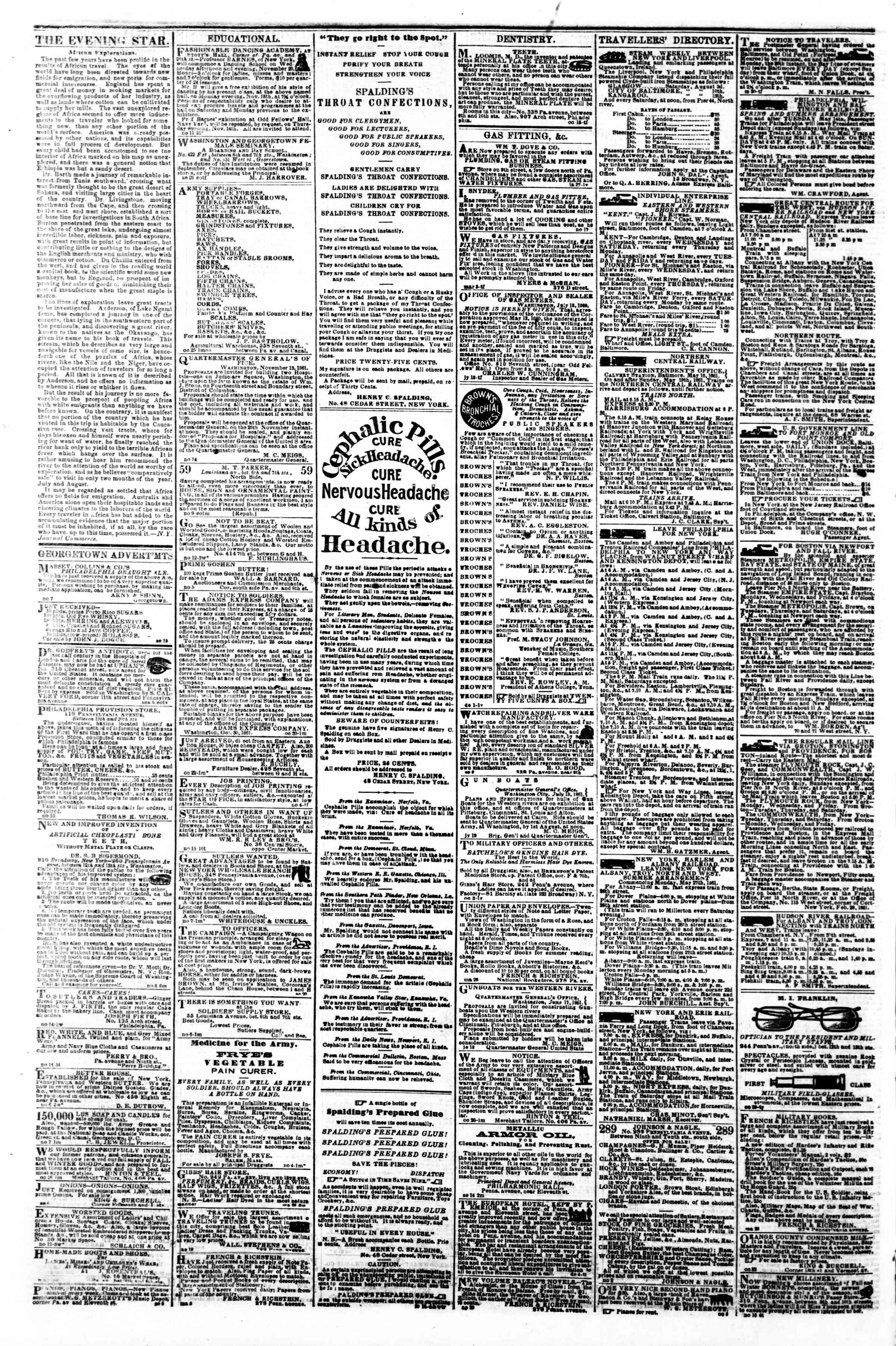 Newspaper of Evening Star dated November 21, 1861 Page 4