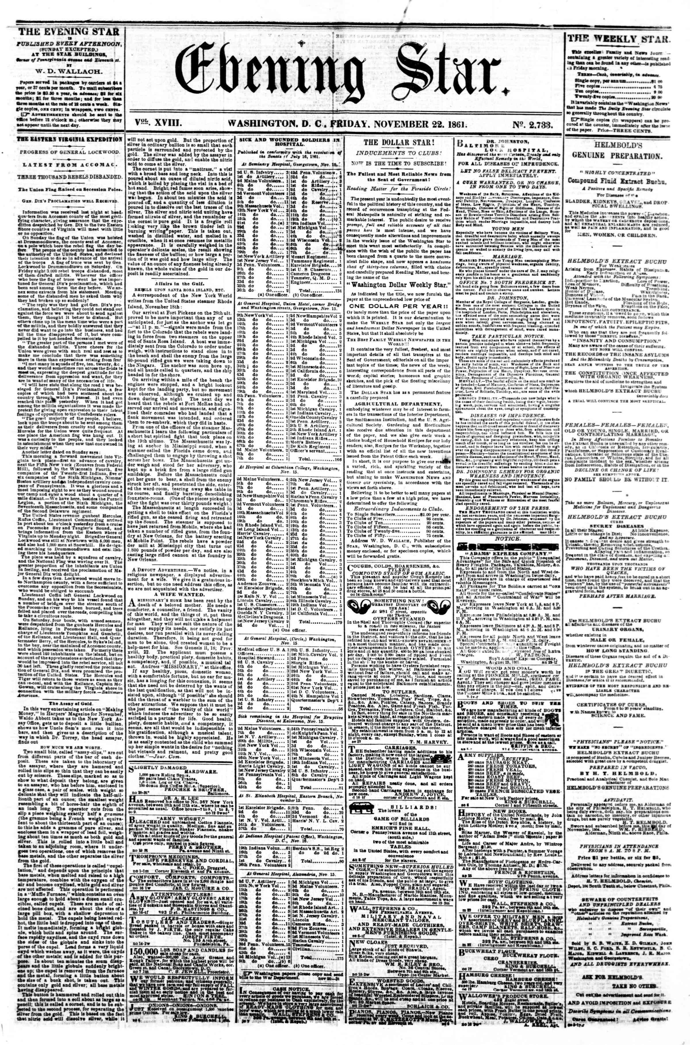 Newspaper of Evening Star dated November 22, 1861 Page 1
