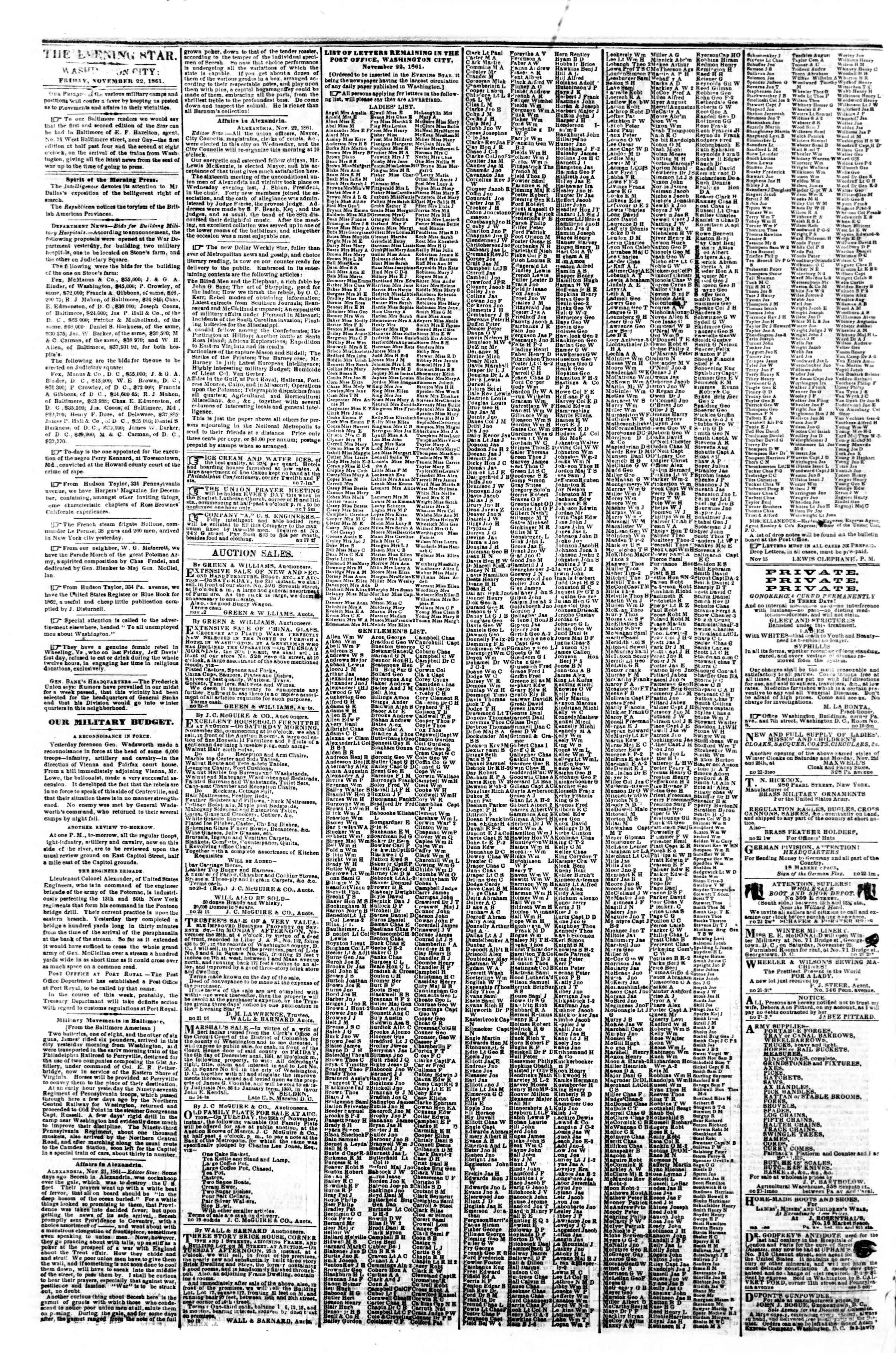 22 Kasım 1861 tarihli Evening Star Gazetesi Sayfa 2