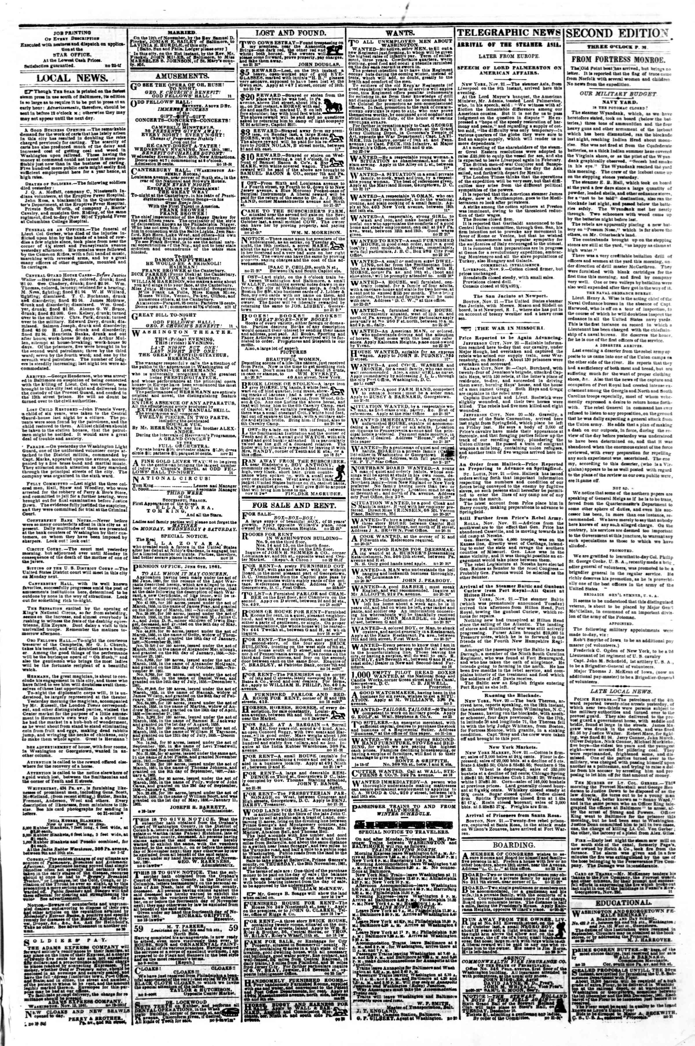 Newspaper of Evening Star dated November 22, 1861 Page 3