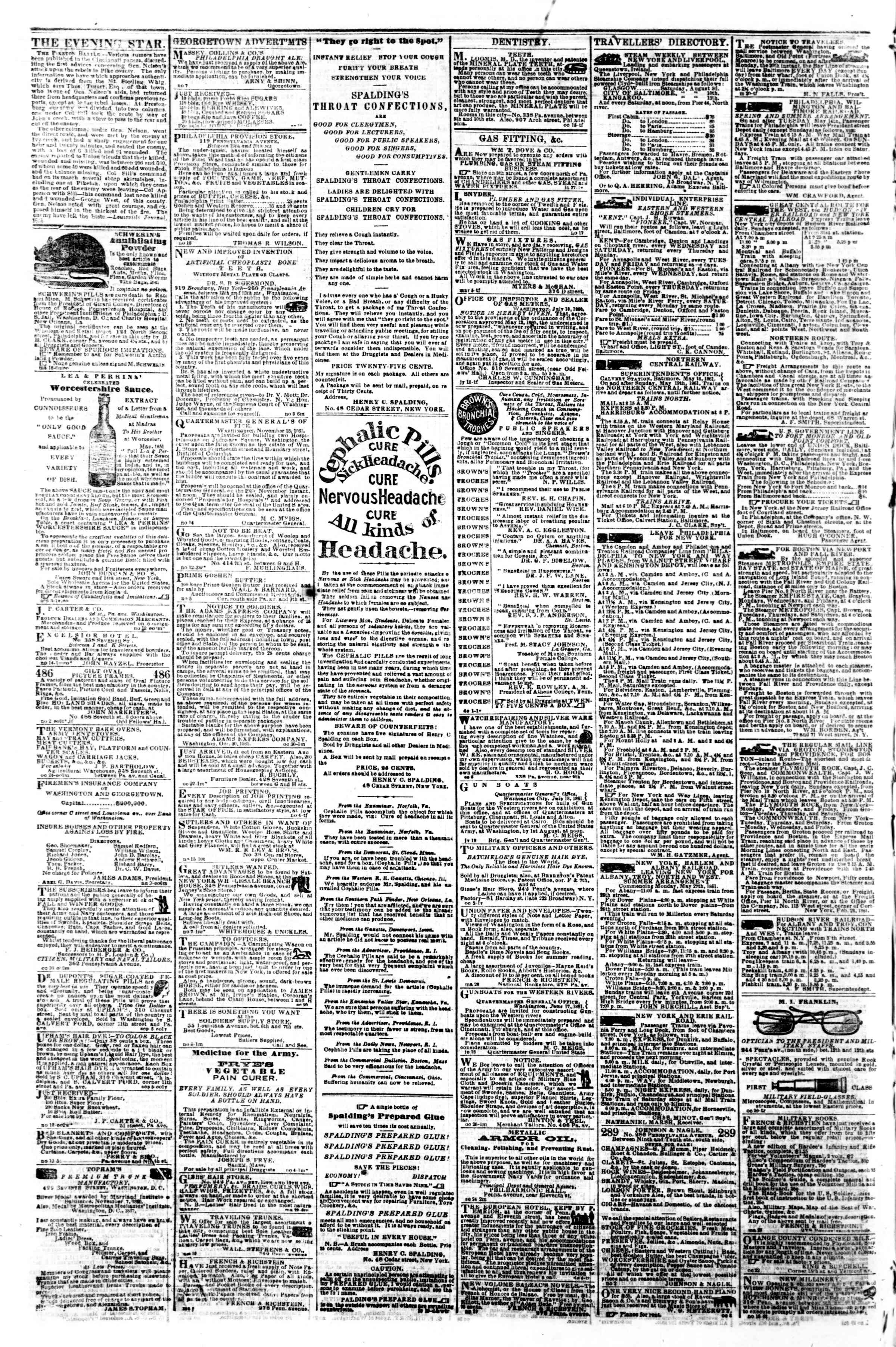 Newspaper of Evening Star dated November 22, 1861 Page 4