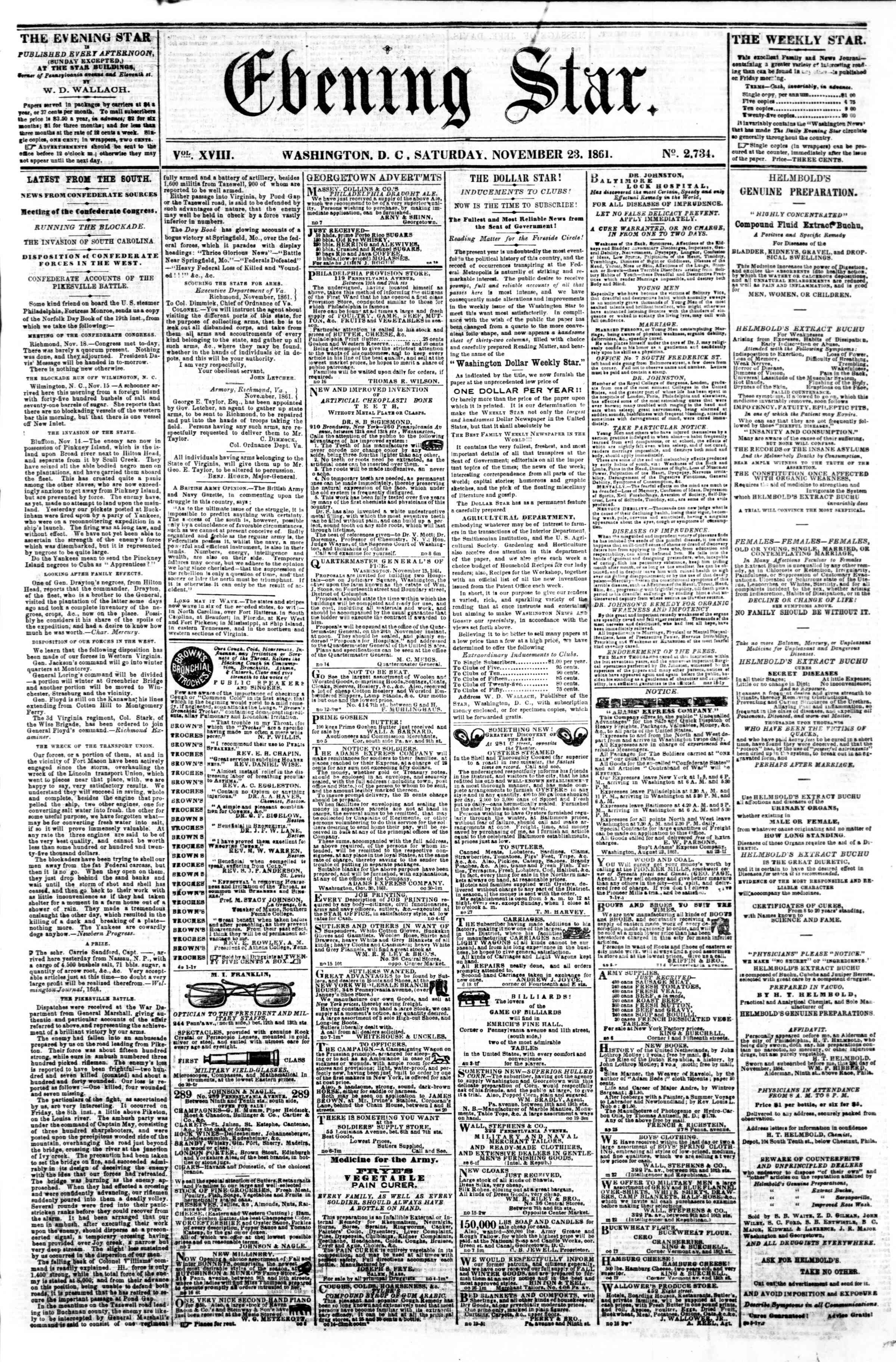 Newspaper of Evening Star dated November 23, 1861 Page 1