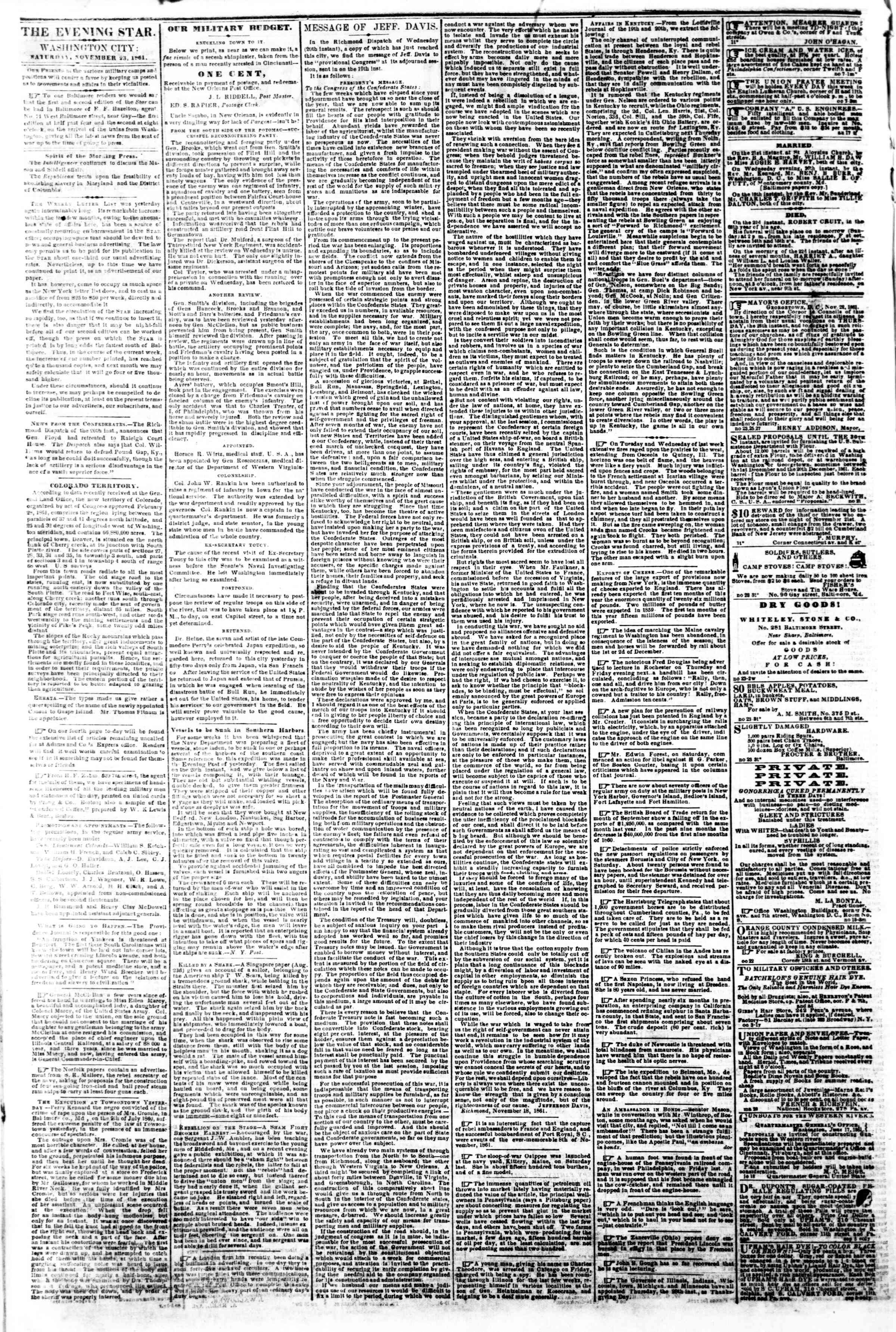 Newspaper of Evening Star dated November 23, 1861 Page 2