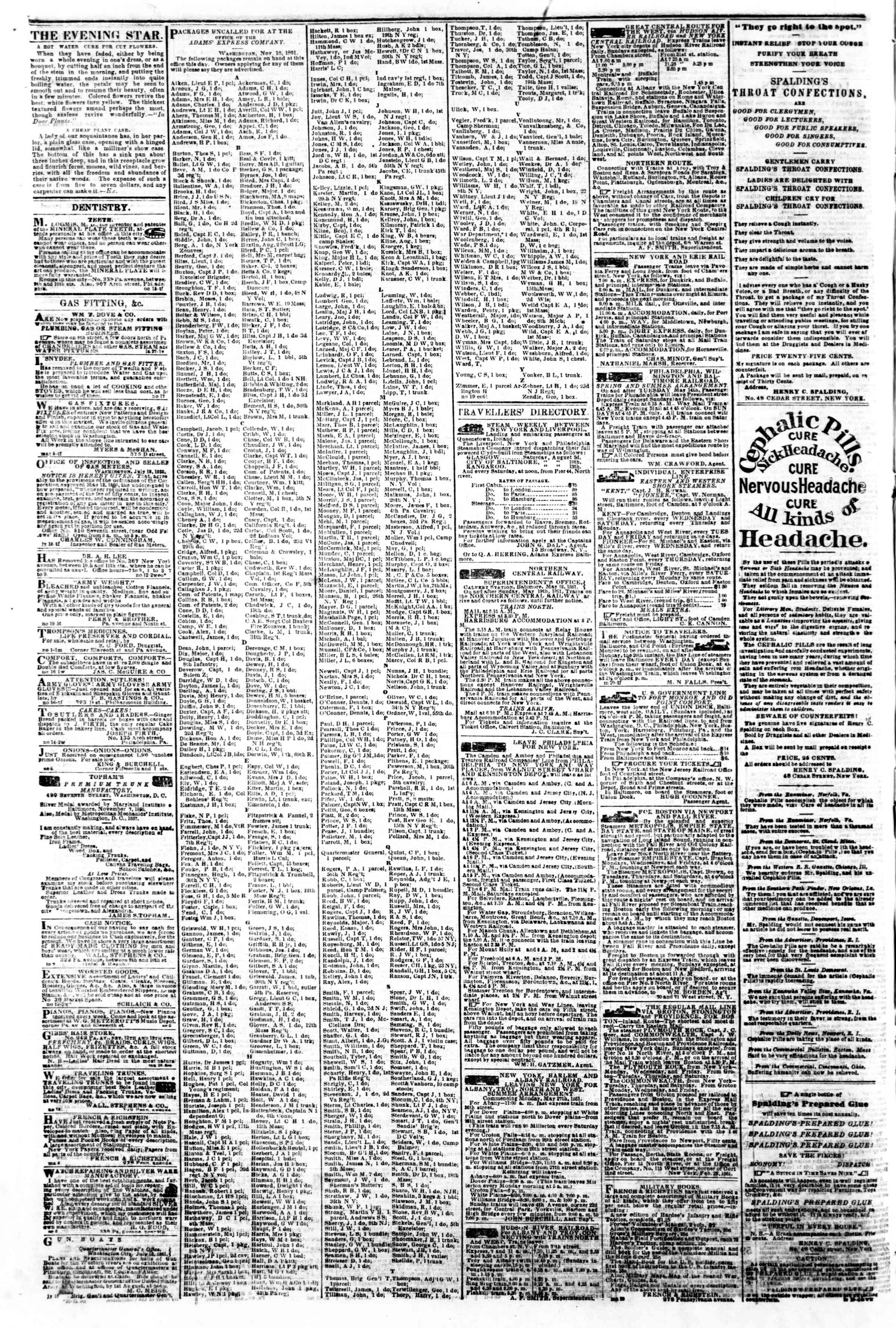 Newspaper of Evening Star dated November 23, 1861 Page 4