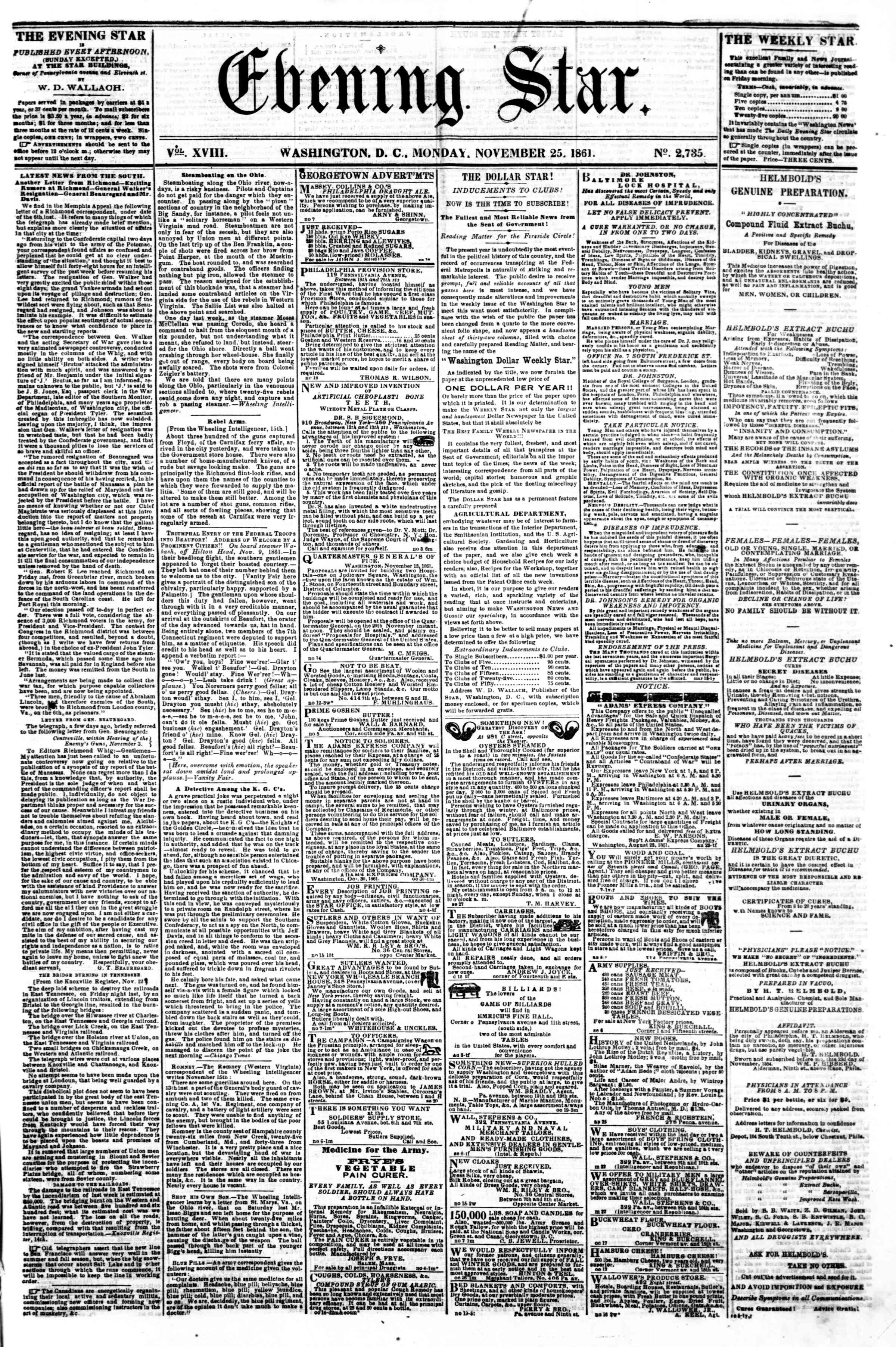 Newspaper of Evening Star dated November 25, 1861 Page 1