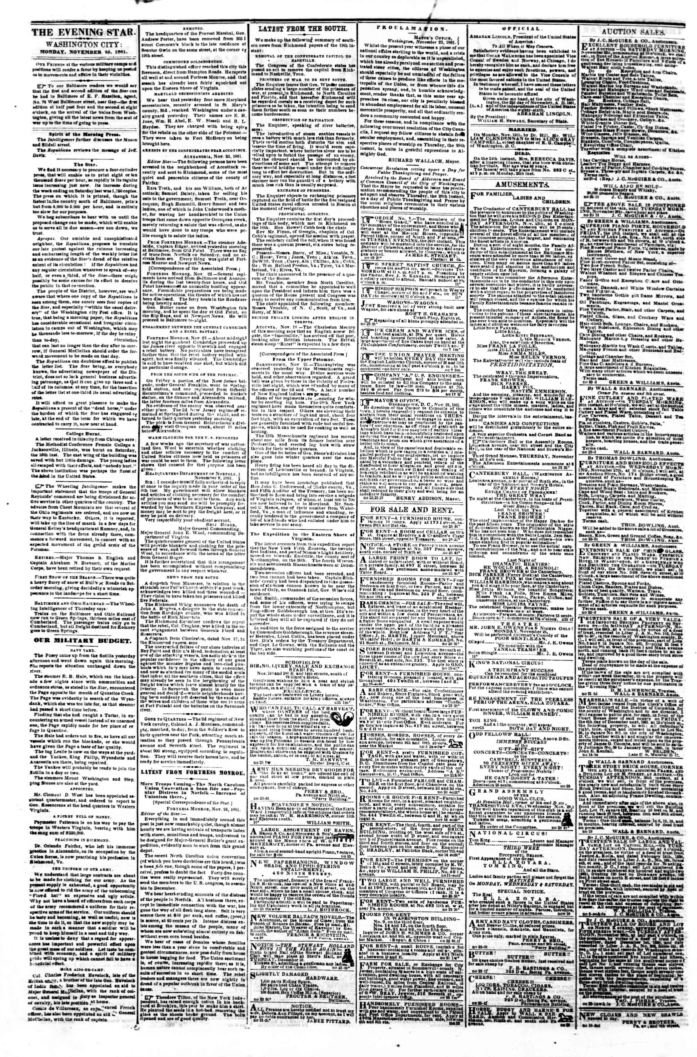 Newspaper of Evening Star dated November 25, 1861 Page 2