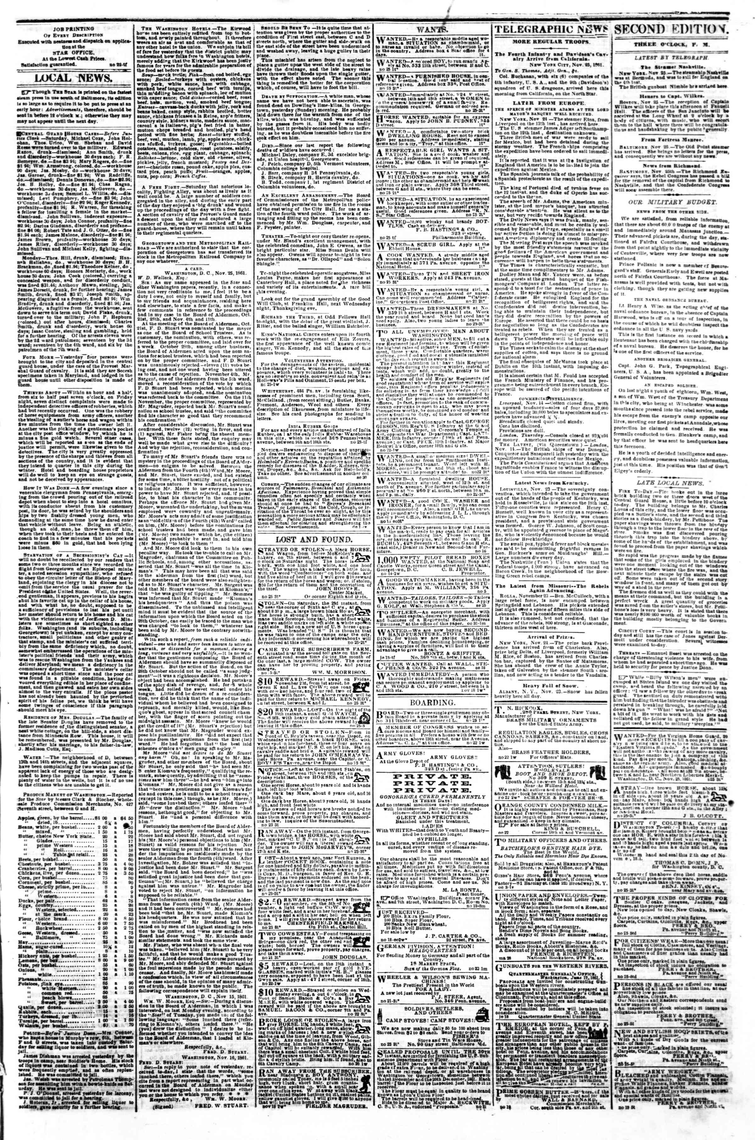 Newspaper of Evening Star dated November 25, 1861 Page 3