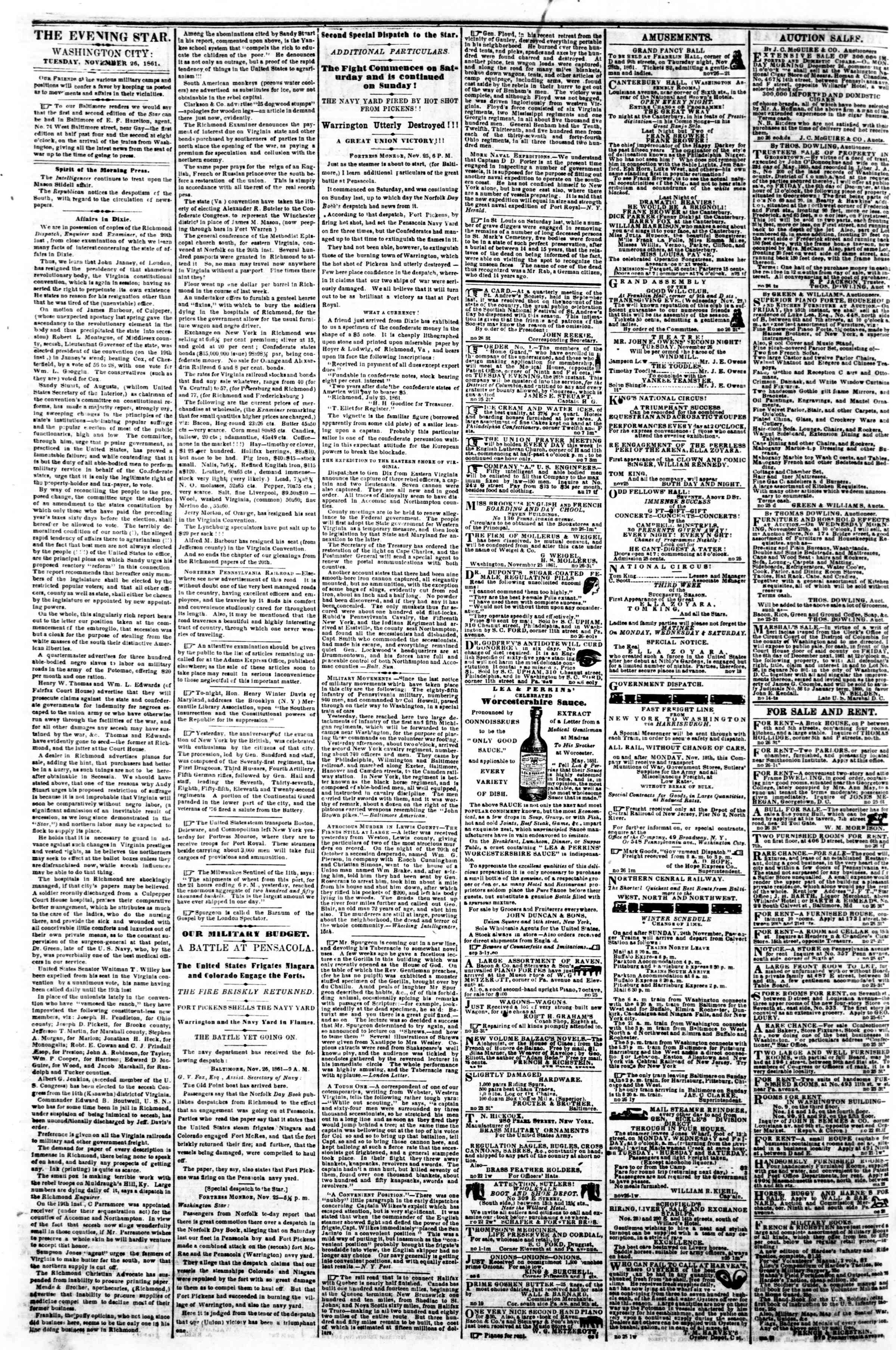 Newspaper of Evening Star dated November 26, 1861 Page 2