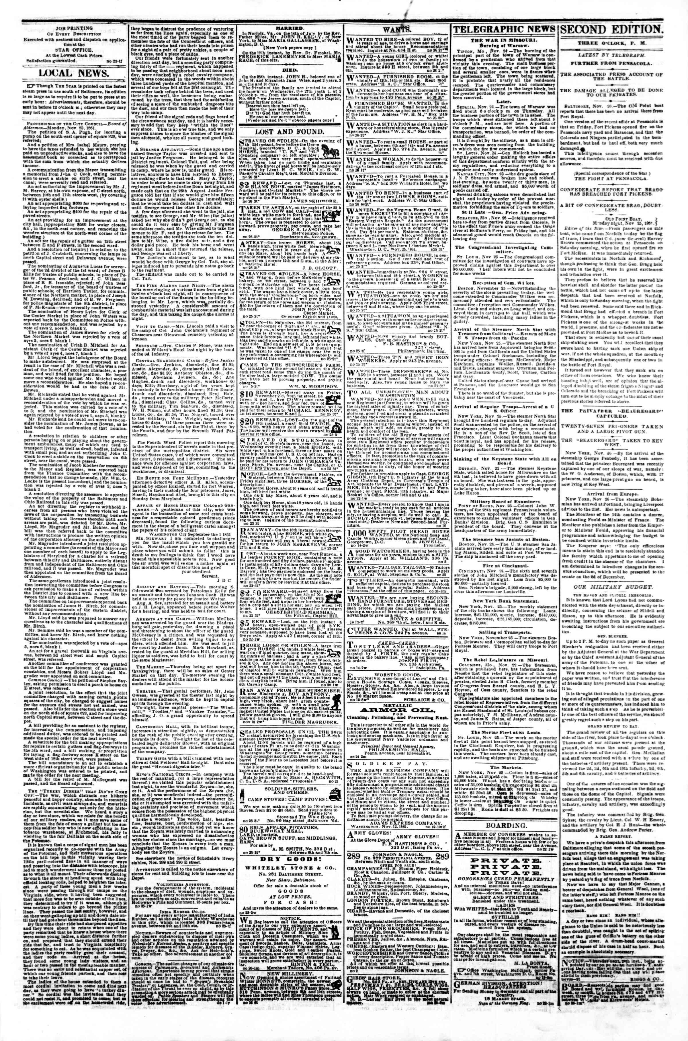 26 Kasım 1861 tarihli Evening Star Gazetesi Sayfa 3