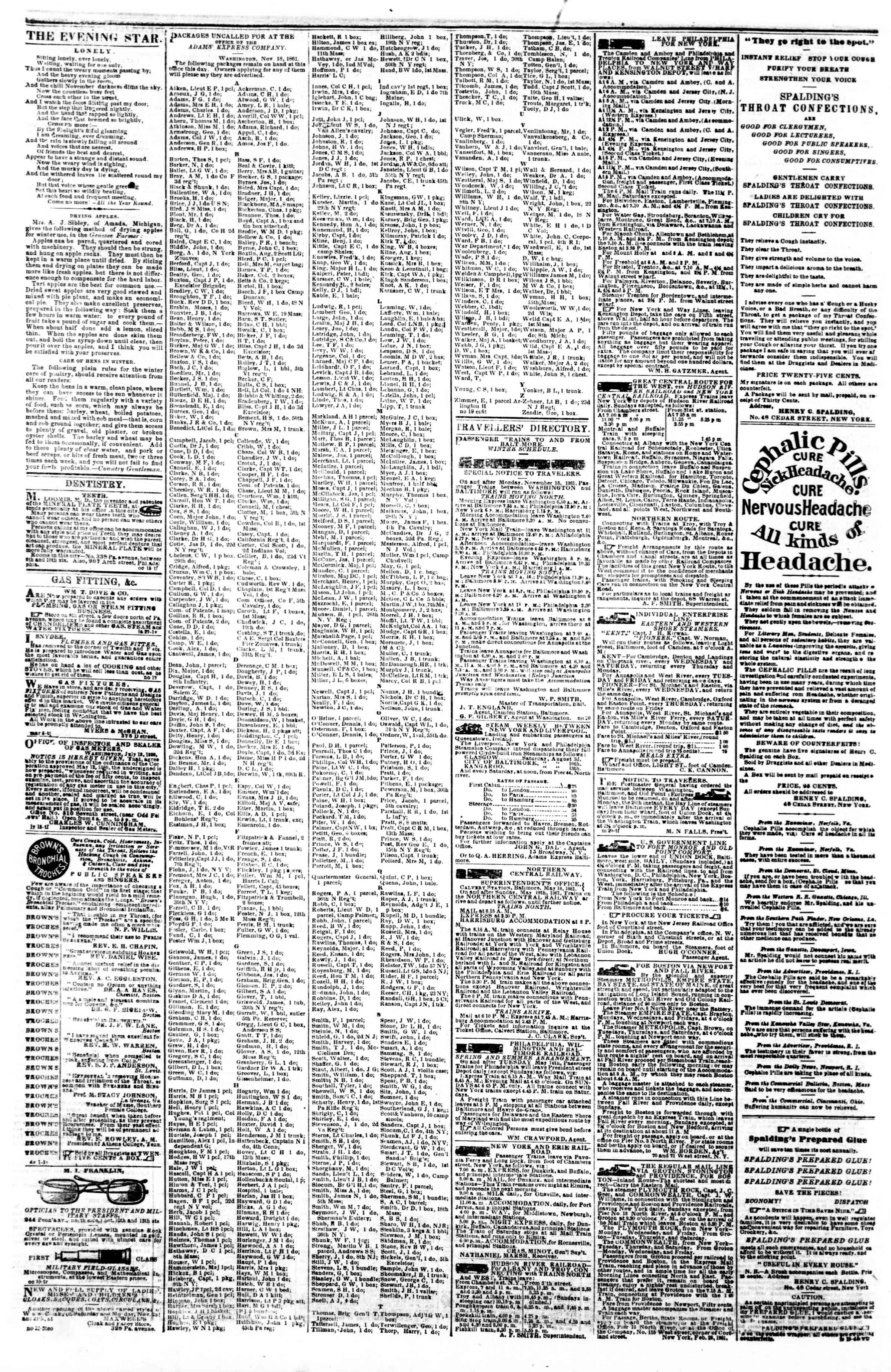 Newspaper of Evening Star dated November 26, 1861 Page 4