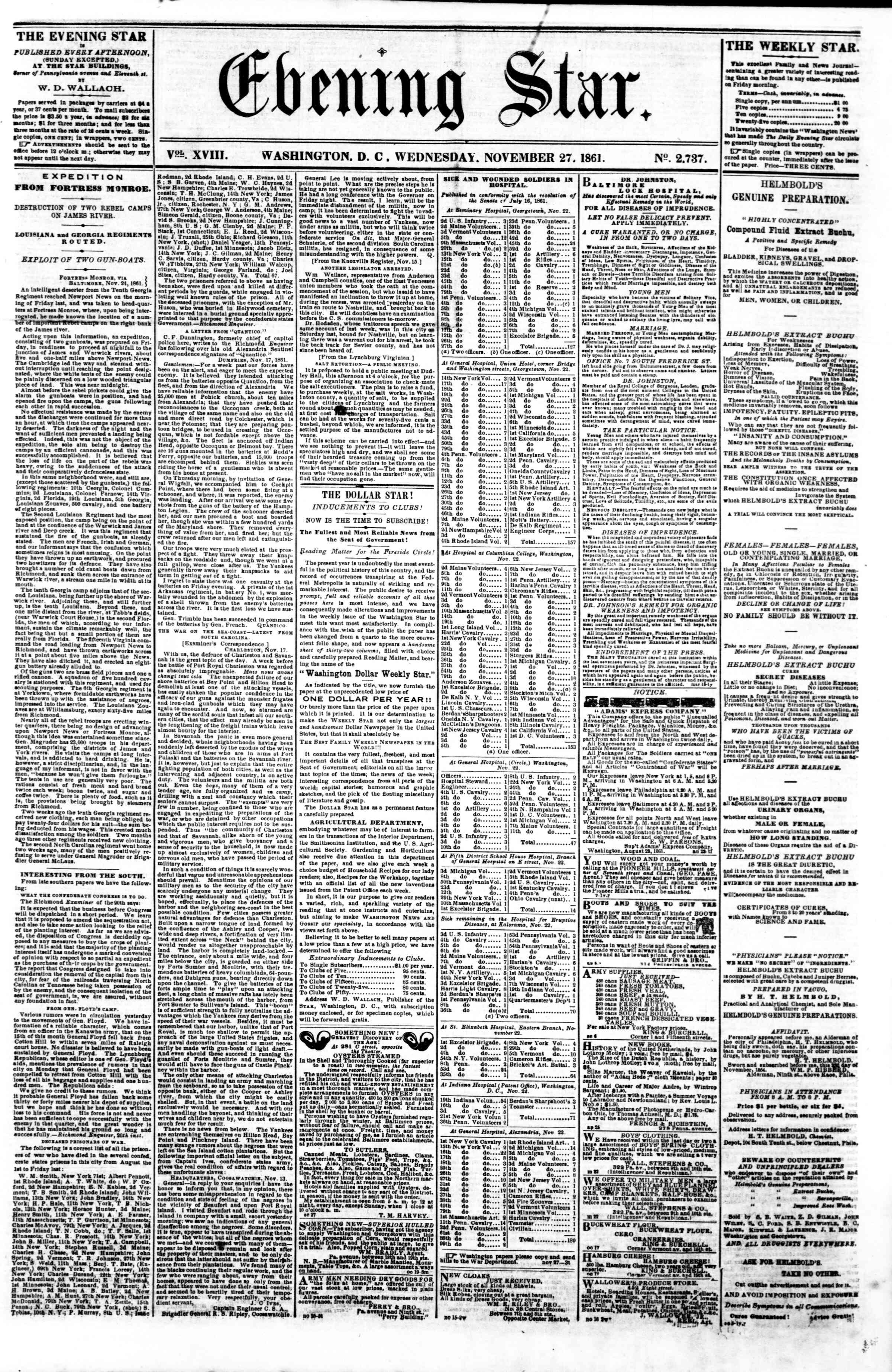 Newspaper of Evening Star dated November 27, 1861 Page 1