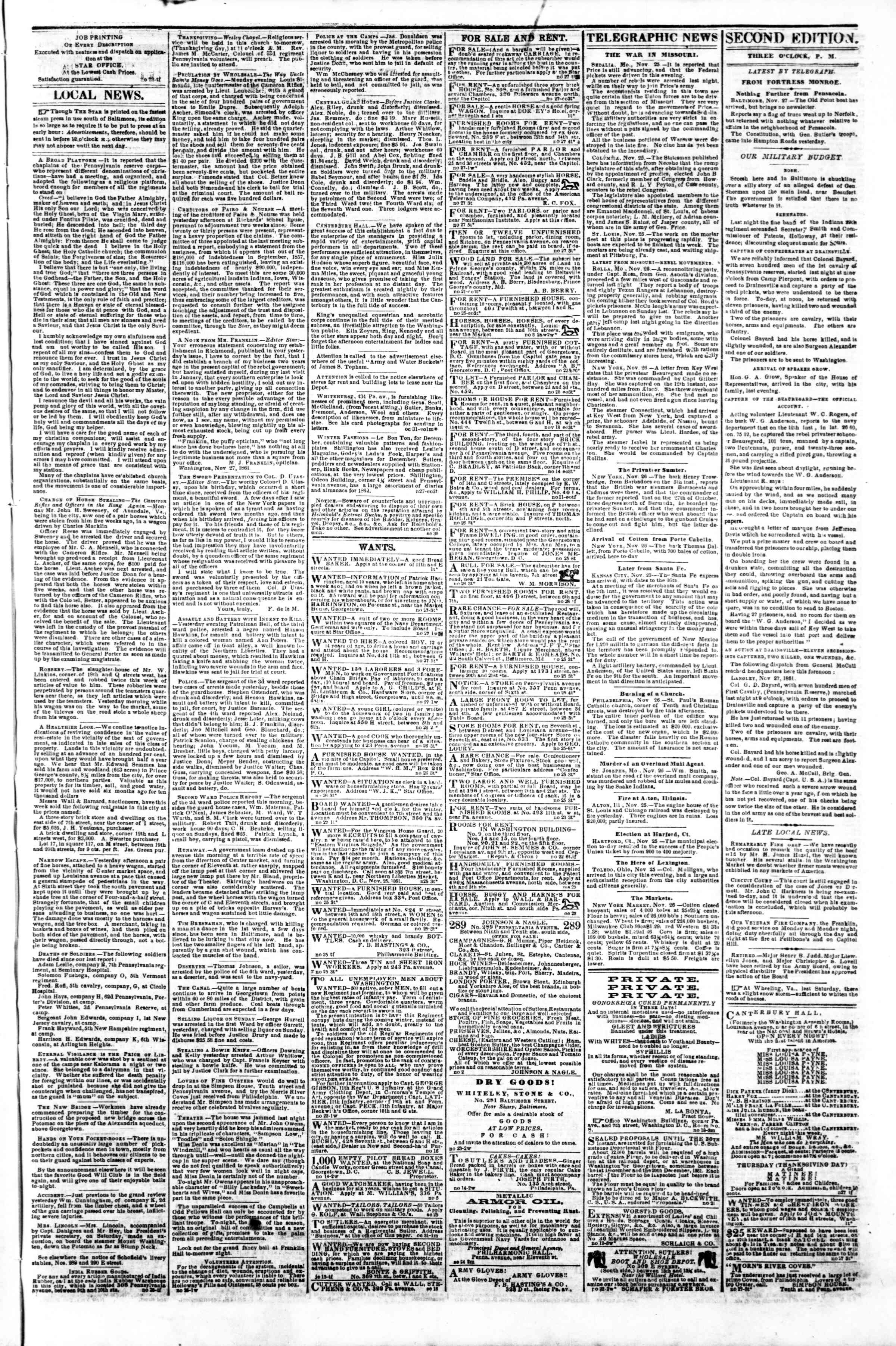 Newspaper of Evening Star dated November 27, 1861 Page 3