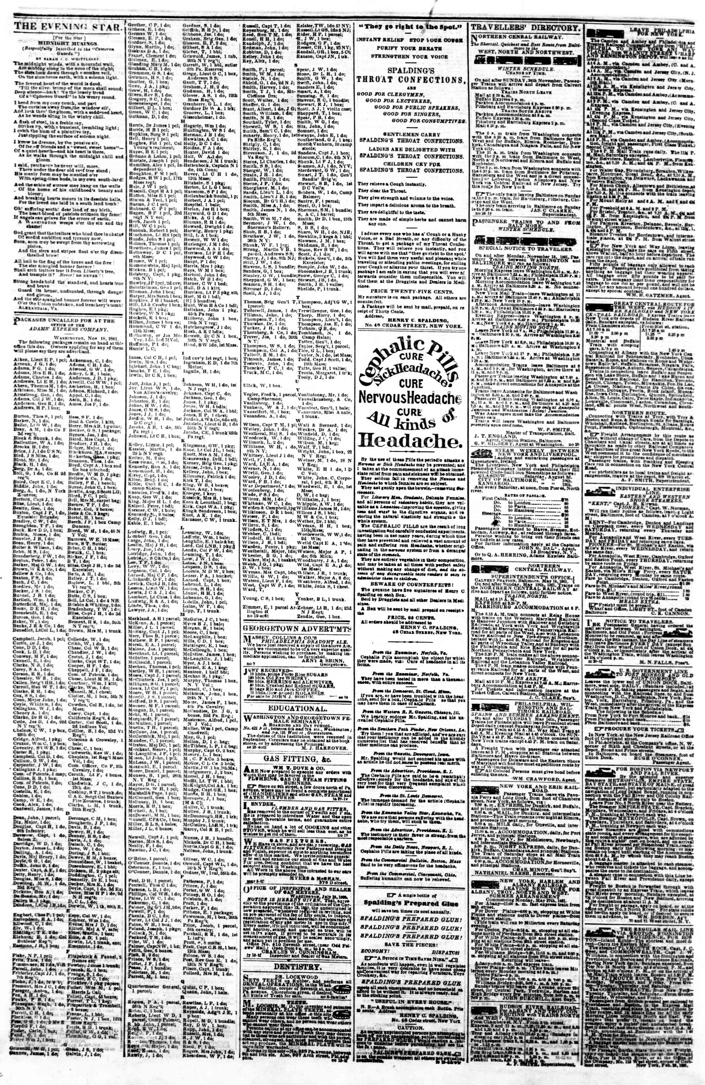 Newspaper of Evening Star dated November 29, 1861 Page 4