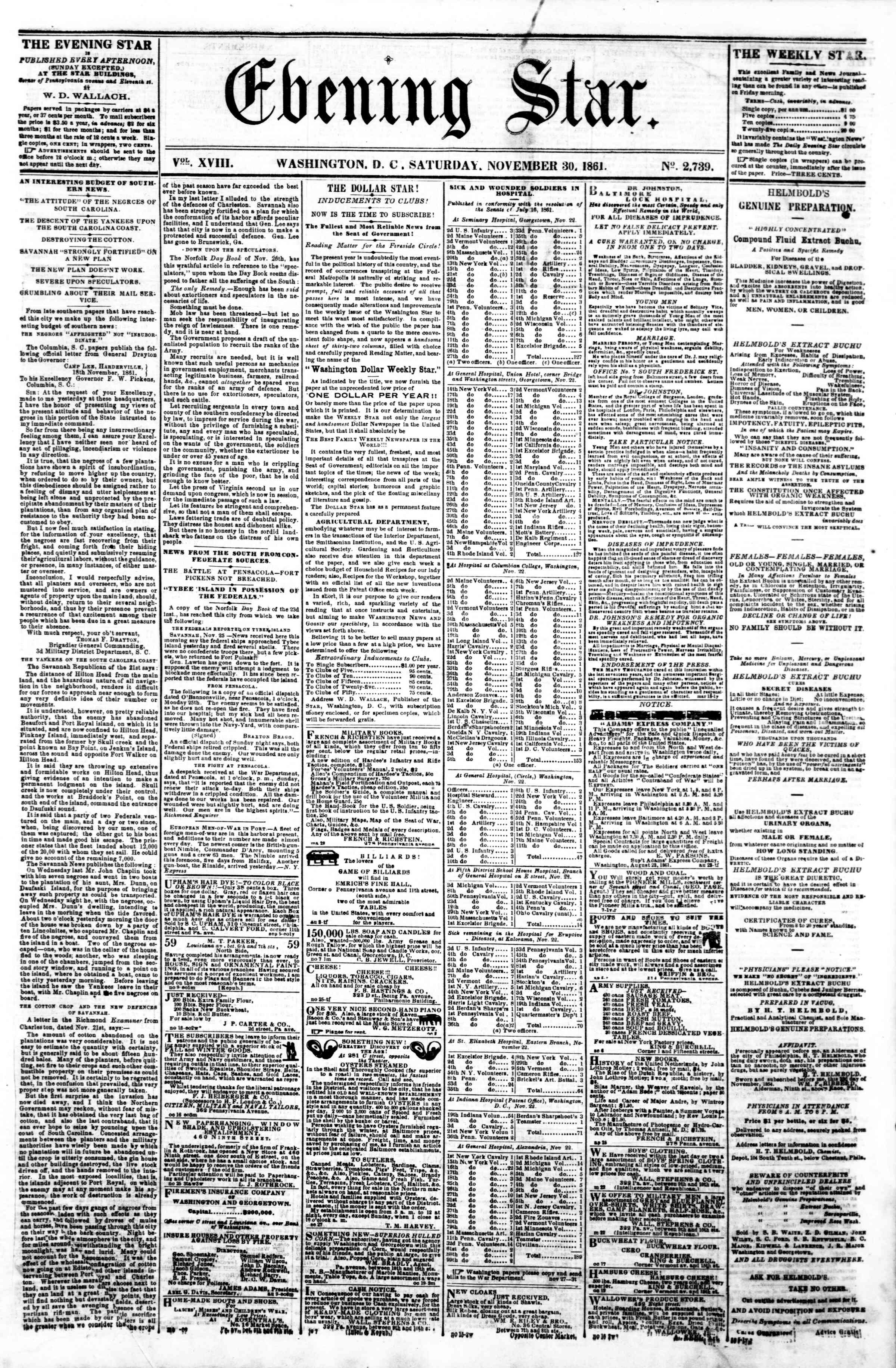 Newspaper of Evening Star dated November 30, 1861 Page 1