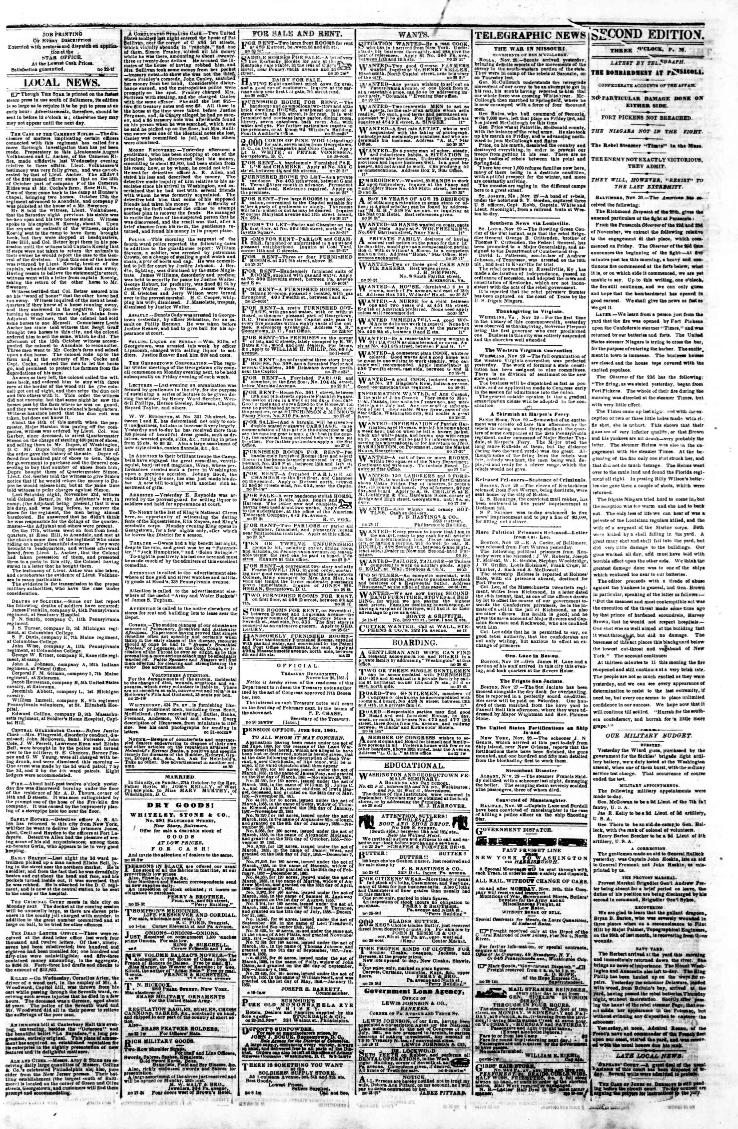 Newspaper of Evening Star dated November 30, 1861 Page 3