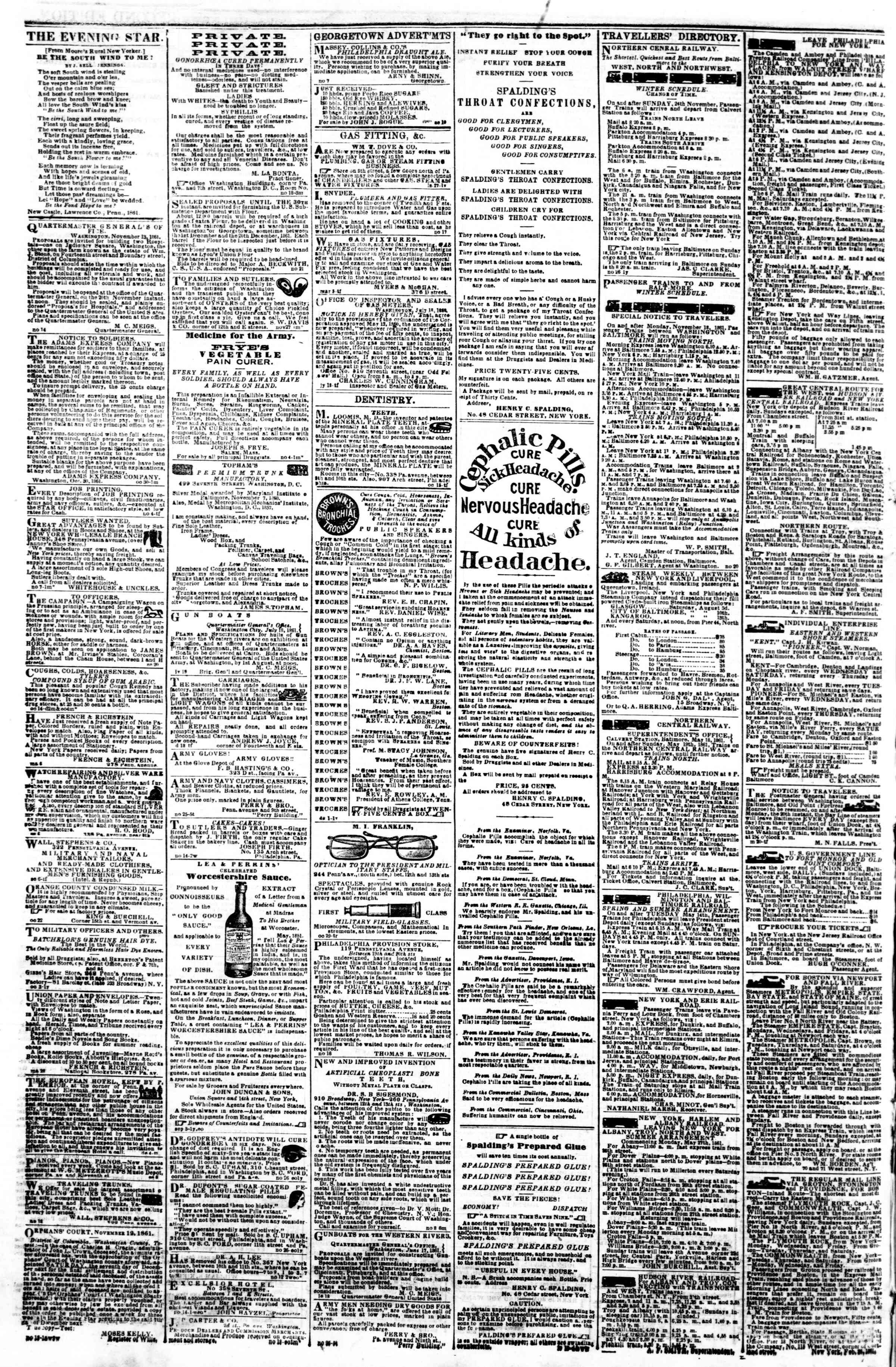 Newspaper of Evening Star dated November 30, 1861 Page 4