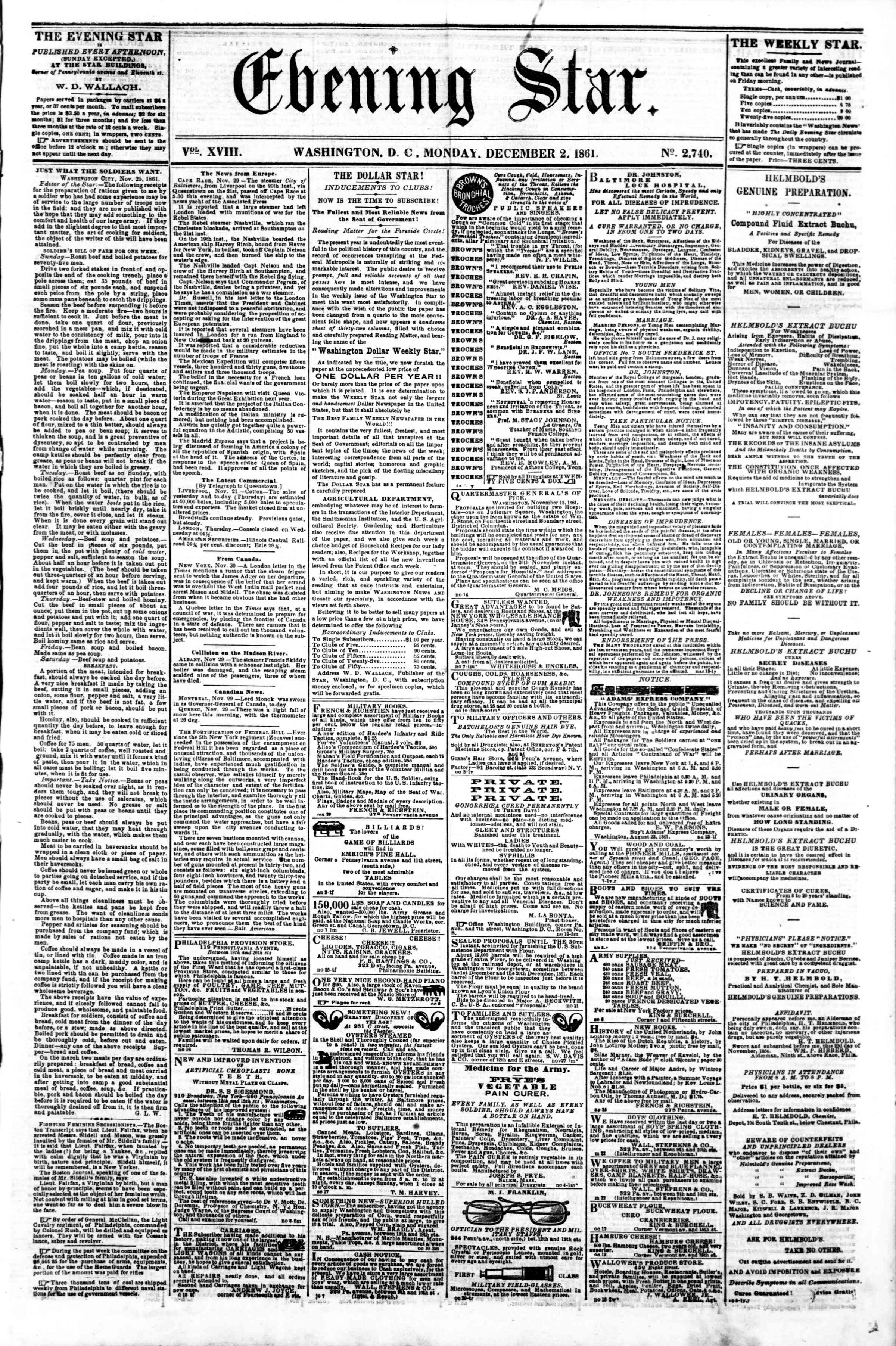 Newspaper of Evening Star dated December 2, 1861 Page 1