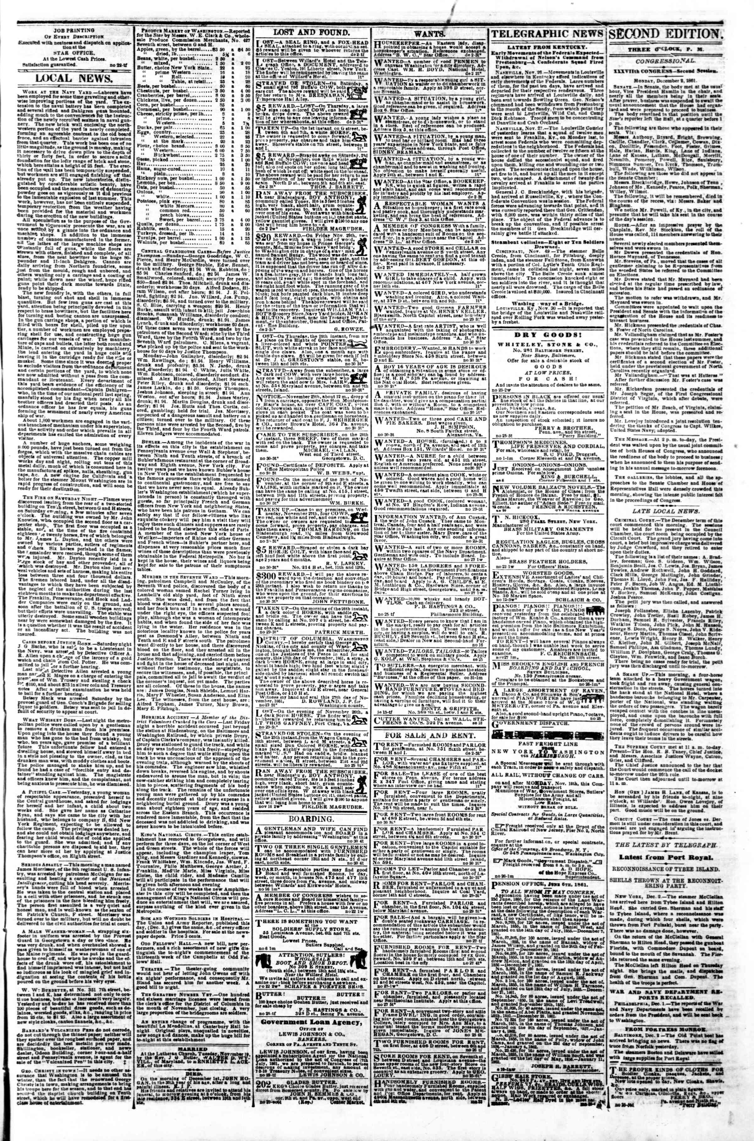 Newspaper of Evening Star dated December 2, 1861 Page 3
