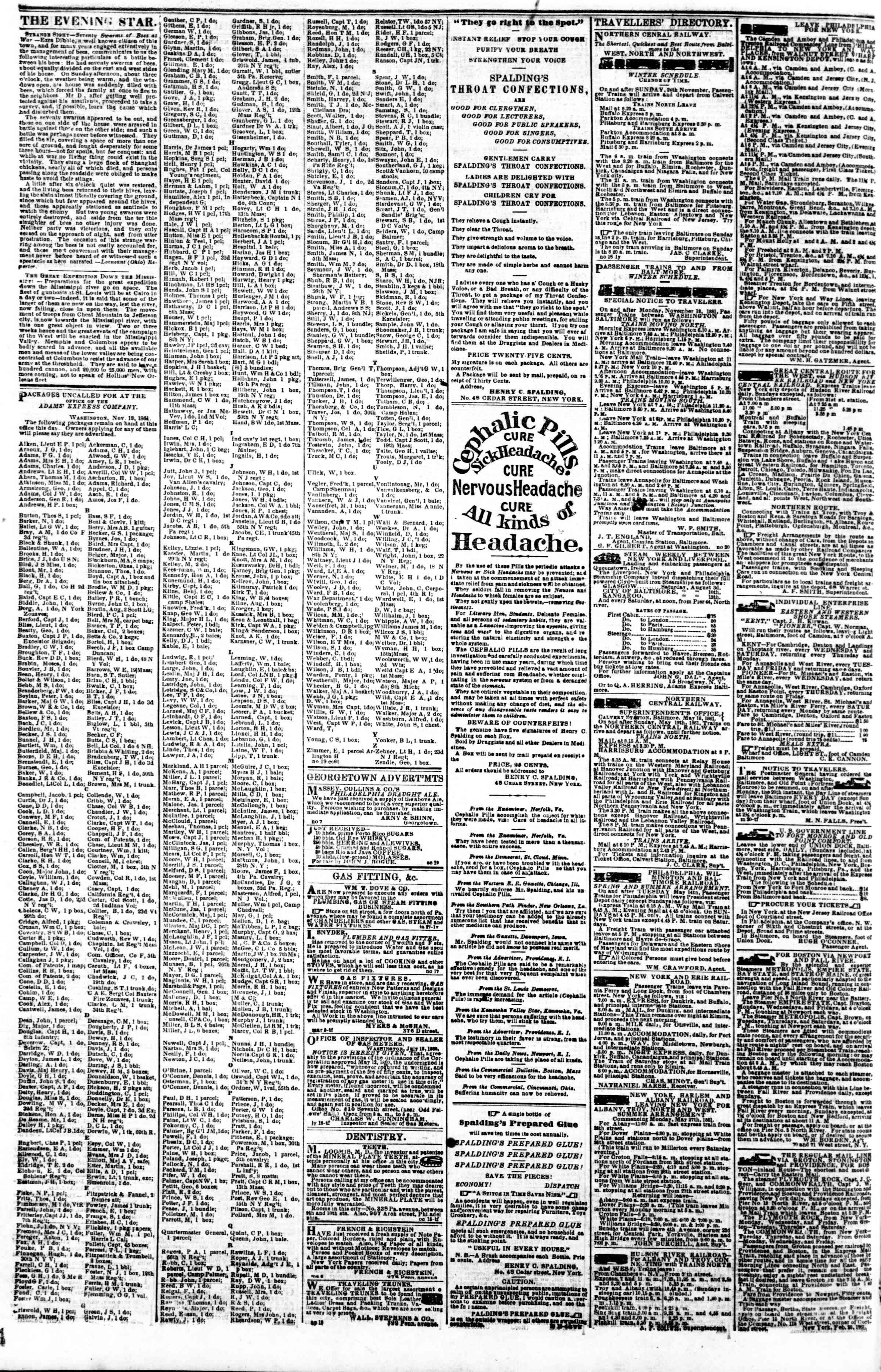 Newspaper of Evening Star dated December 2, 1861 Page 4