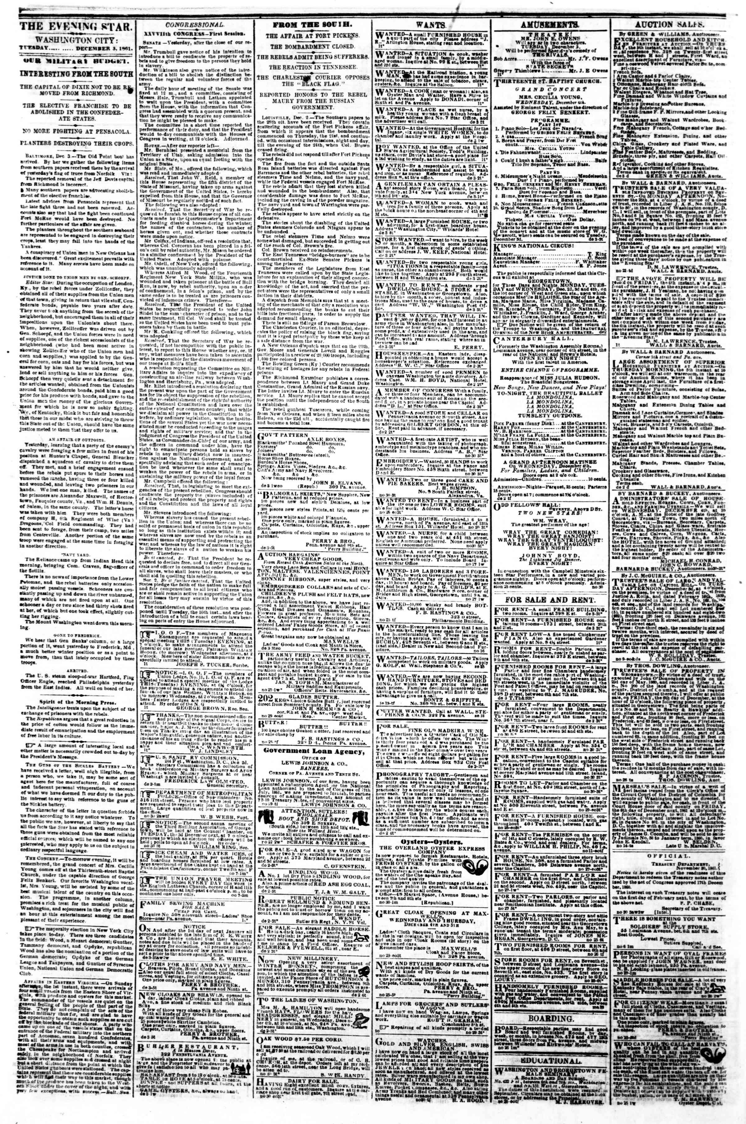 3 Aralık 1861 tarihli Evening Star Gazetesi Sayfa 2