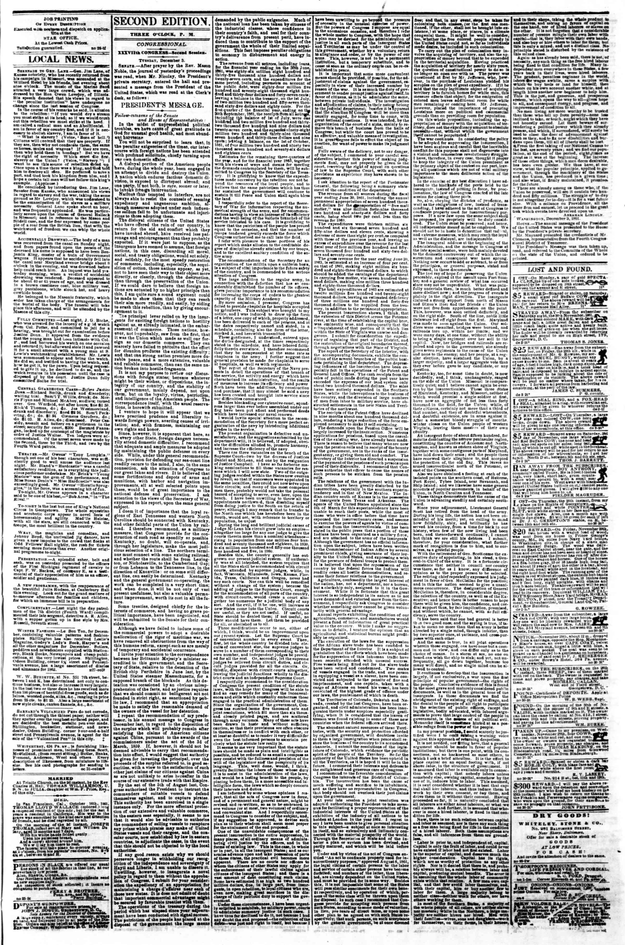 Newspaper of Evening Star dated December 3, 1861 Page 3