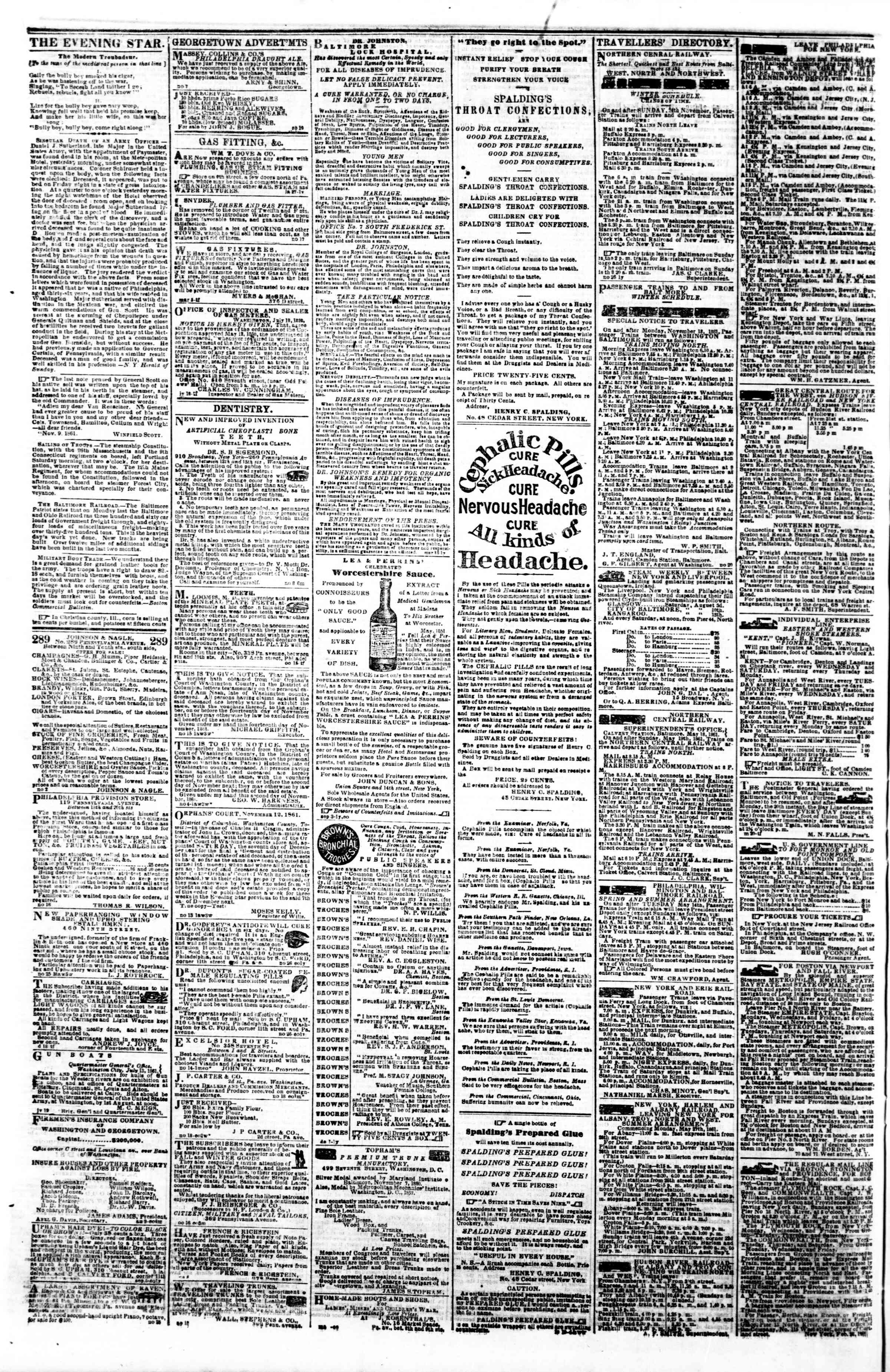 Newspaper of Evening Star dated December 3, 1861 Page 4