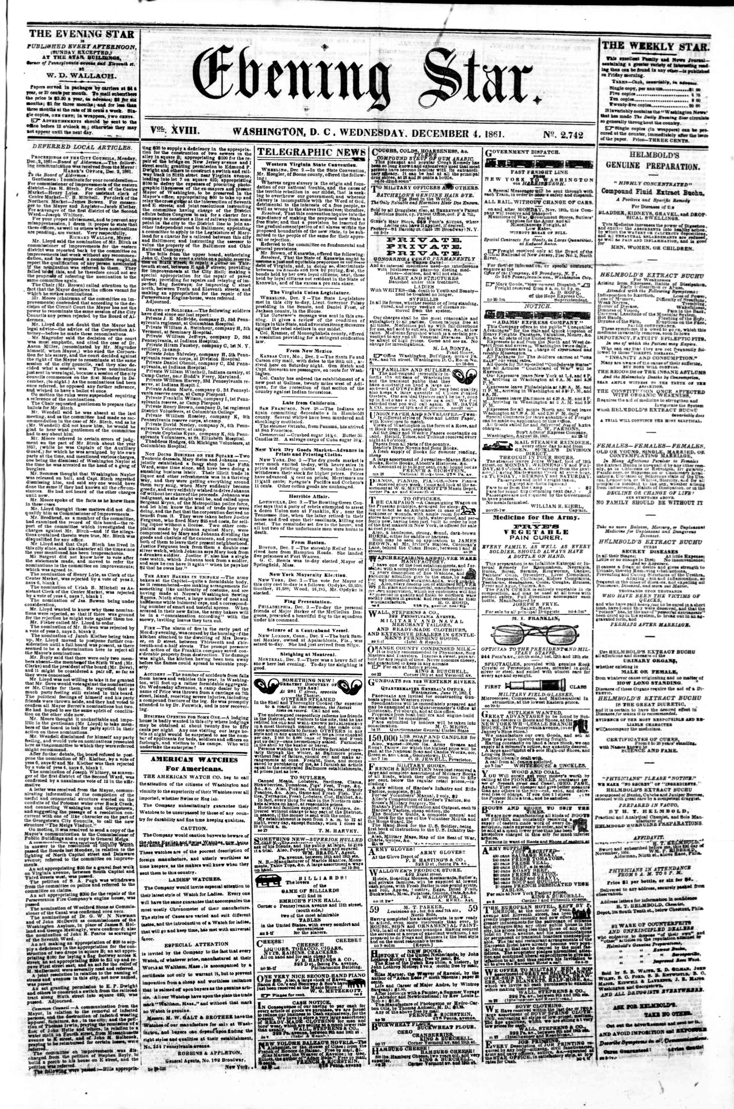 4 Aralık 1861 tarihli Evening Star Gazetesi Sayfa 1