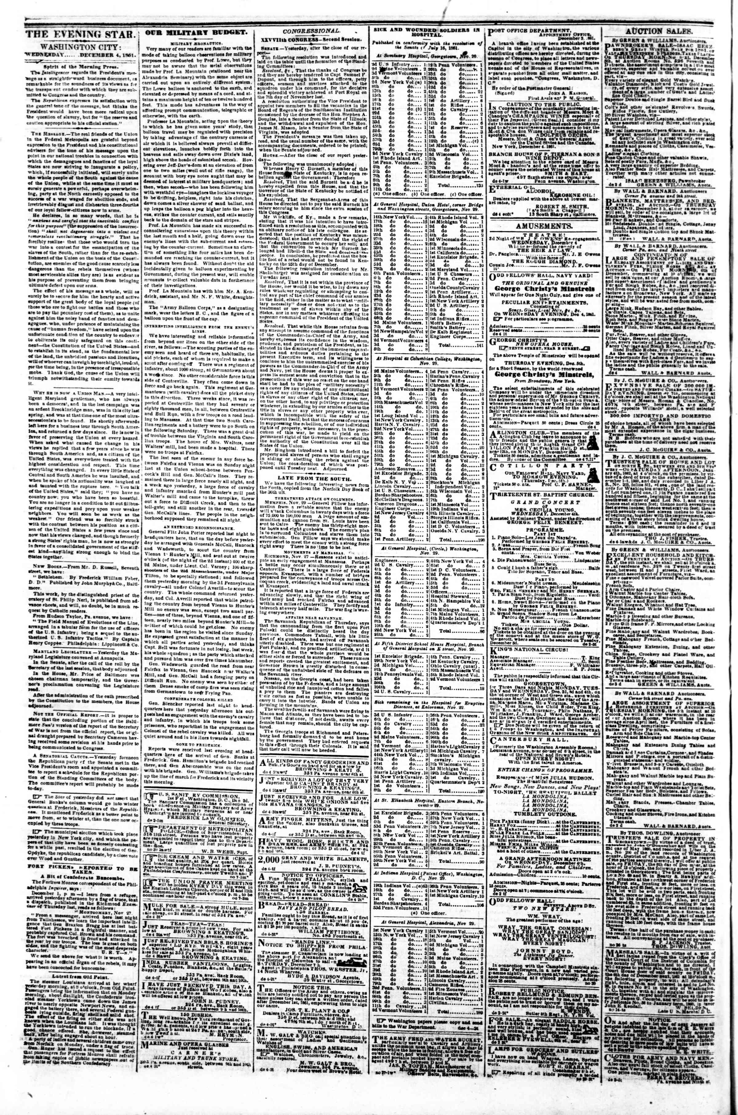Newspaper of Evening Star dated December 4, 1861 Page 2