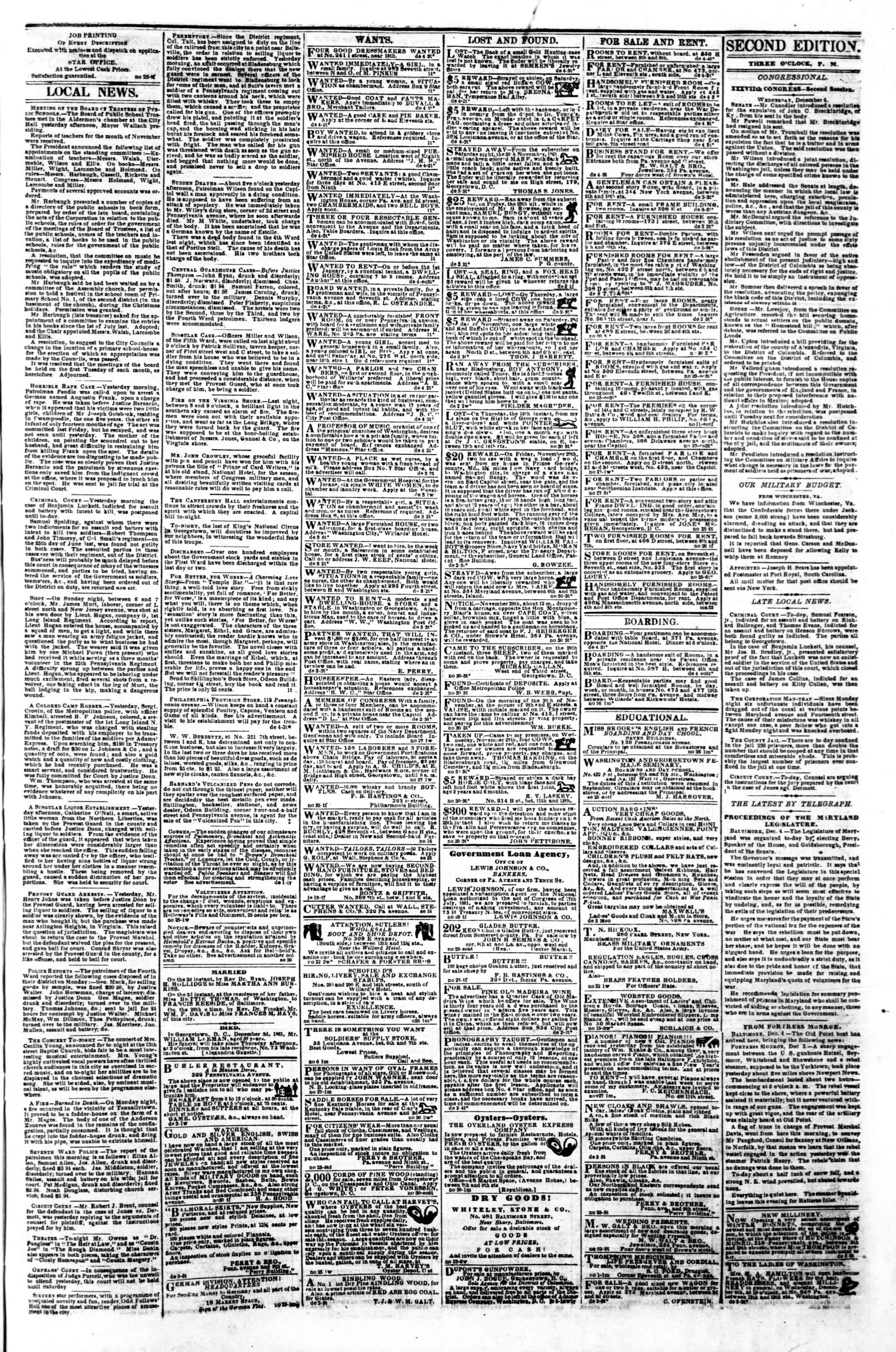 Newspaper of Evening Star dated December 4, 1861 Page 3